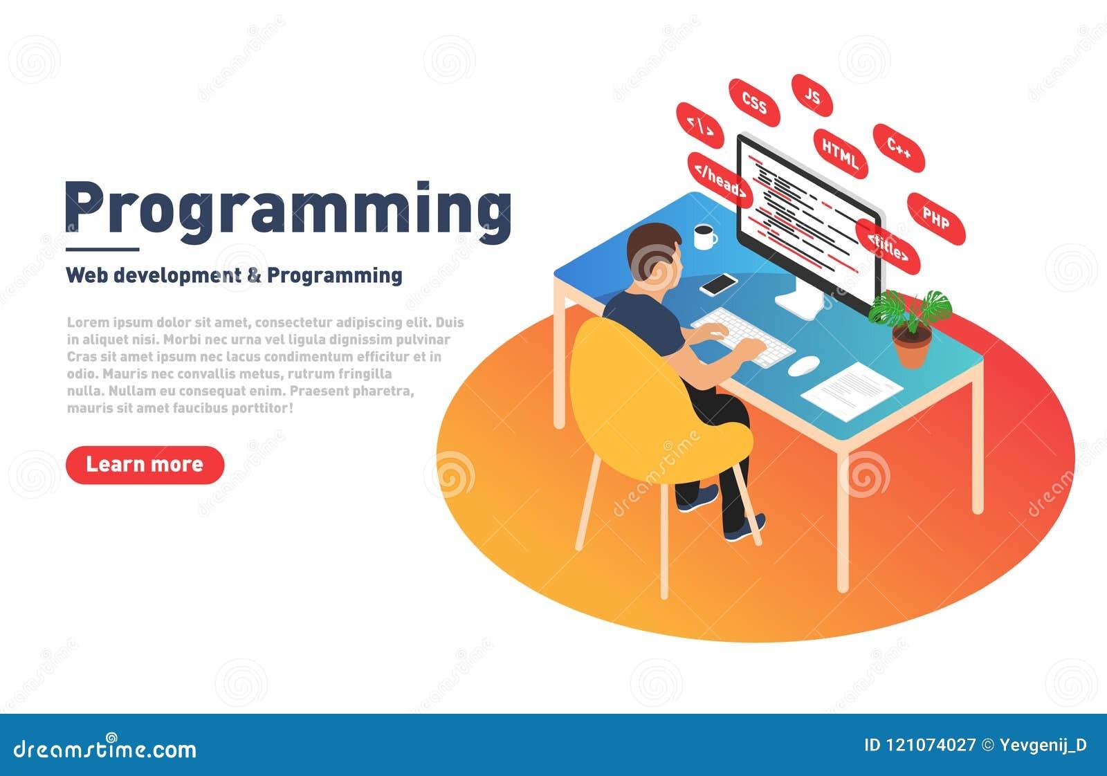 Concepto de la programación y del desarrollo web El programador está trabajando en el ordenador Desarrollador y lugar de trabajo