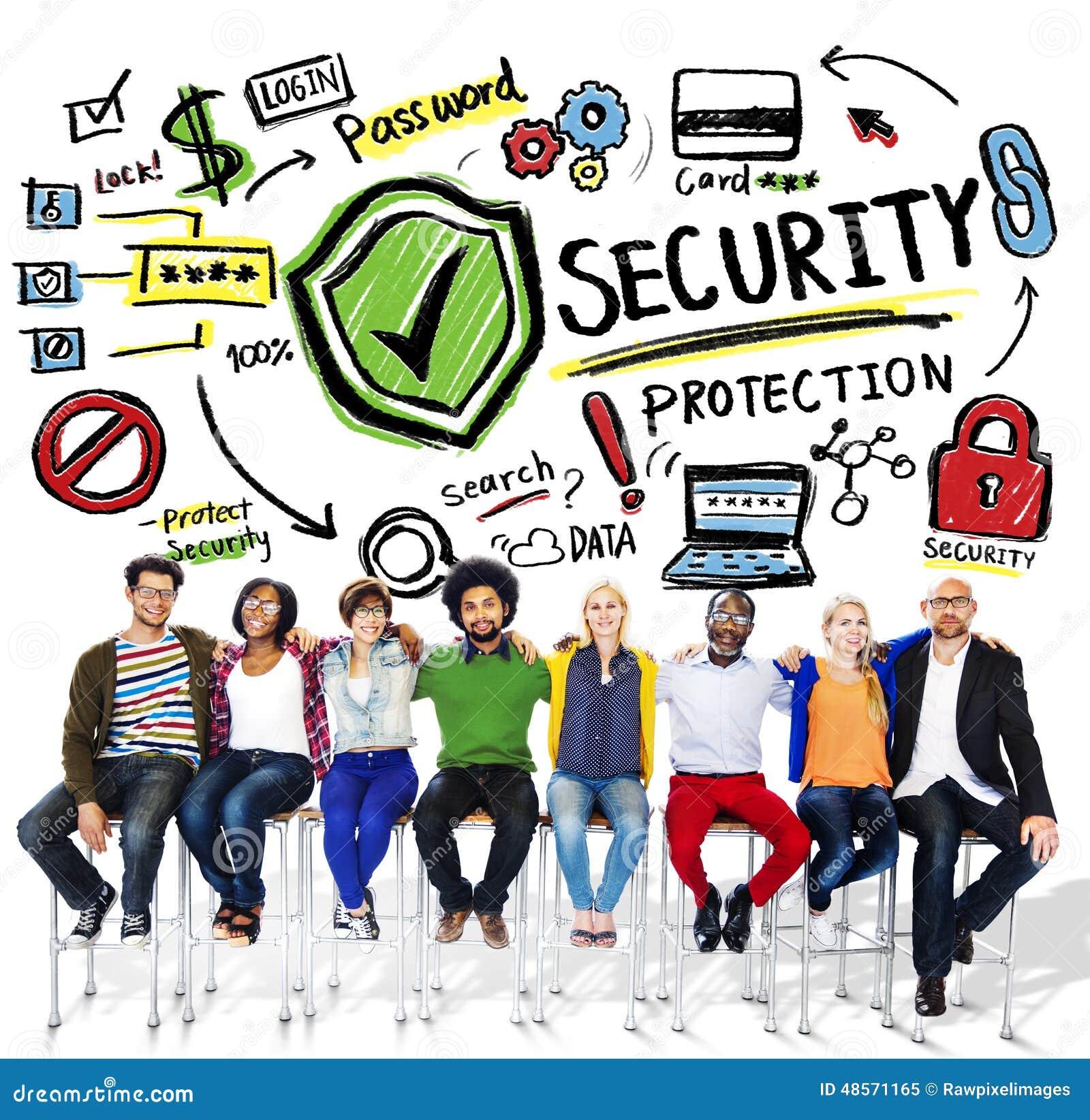 9b425e67 Concepto de la protección de seguridad del trabajo en equipo de la gente de  la pertenencia