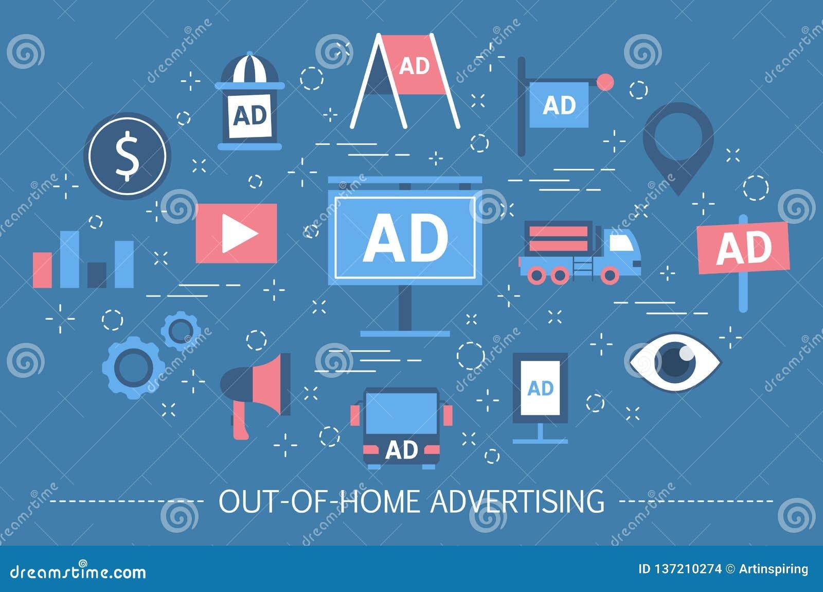 Concepto de la publicidad del Hacia fuera-de-hogar Bandera de la cartelera y cartel de la calle