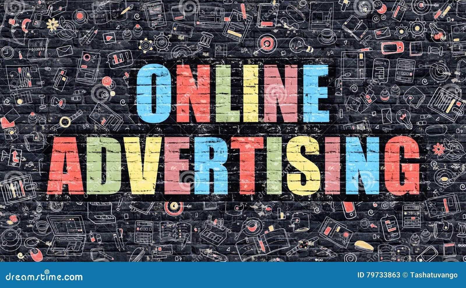 Concepto de la publicidad online Multicolor en Brickwall oscuro