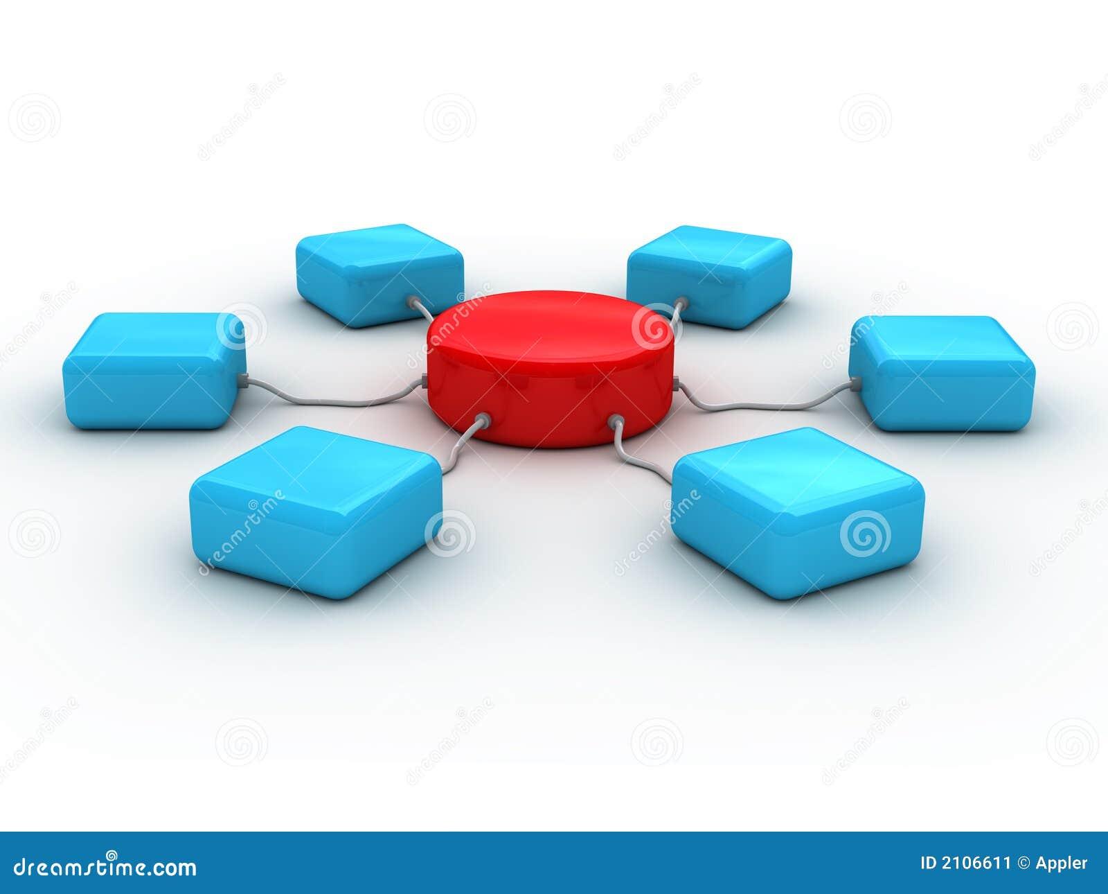 Concepto de la red 3d (se presenta color rojo y azul)