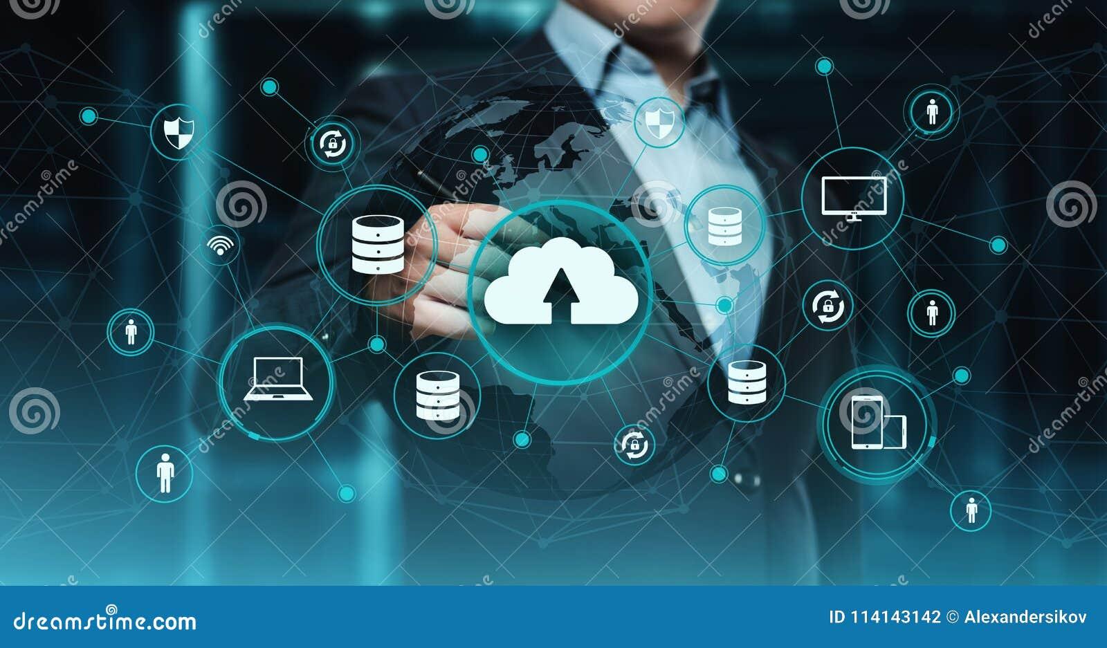 Concepto de la red del almacenamiento de Internet de la tecnología de ordenadores de la nube