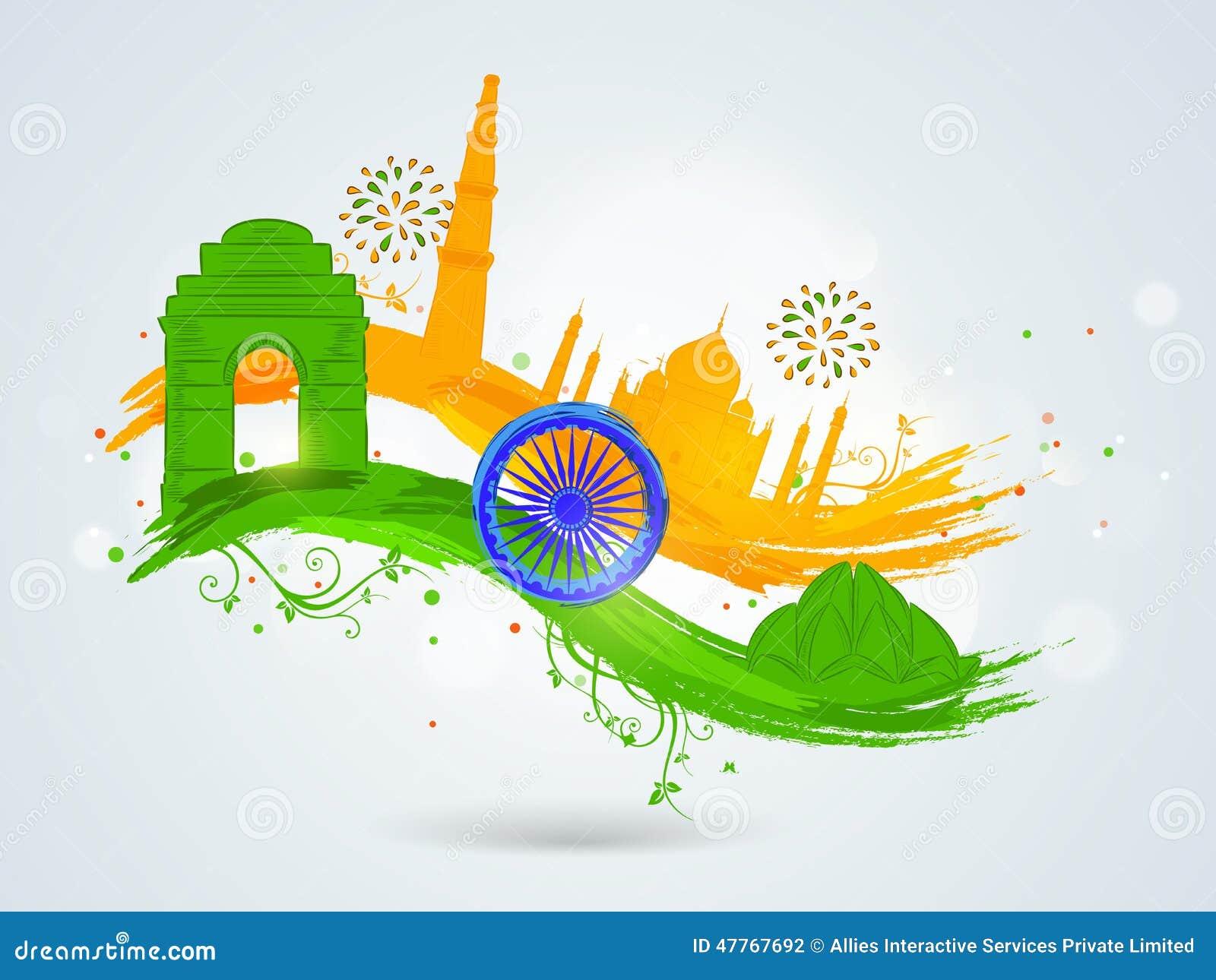 Concepto de la república de las celebraciones indias del día y del Día de la Independencia