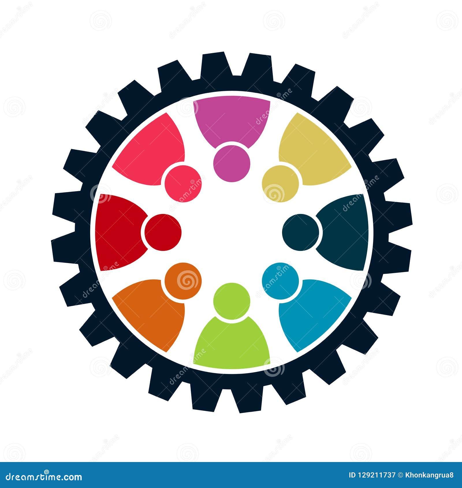 Concepto de la reunión del trabajo en equipo del engranaje Ocho personas en el círculo trabajo del equipo del logotipo