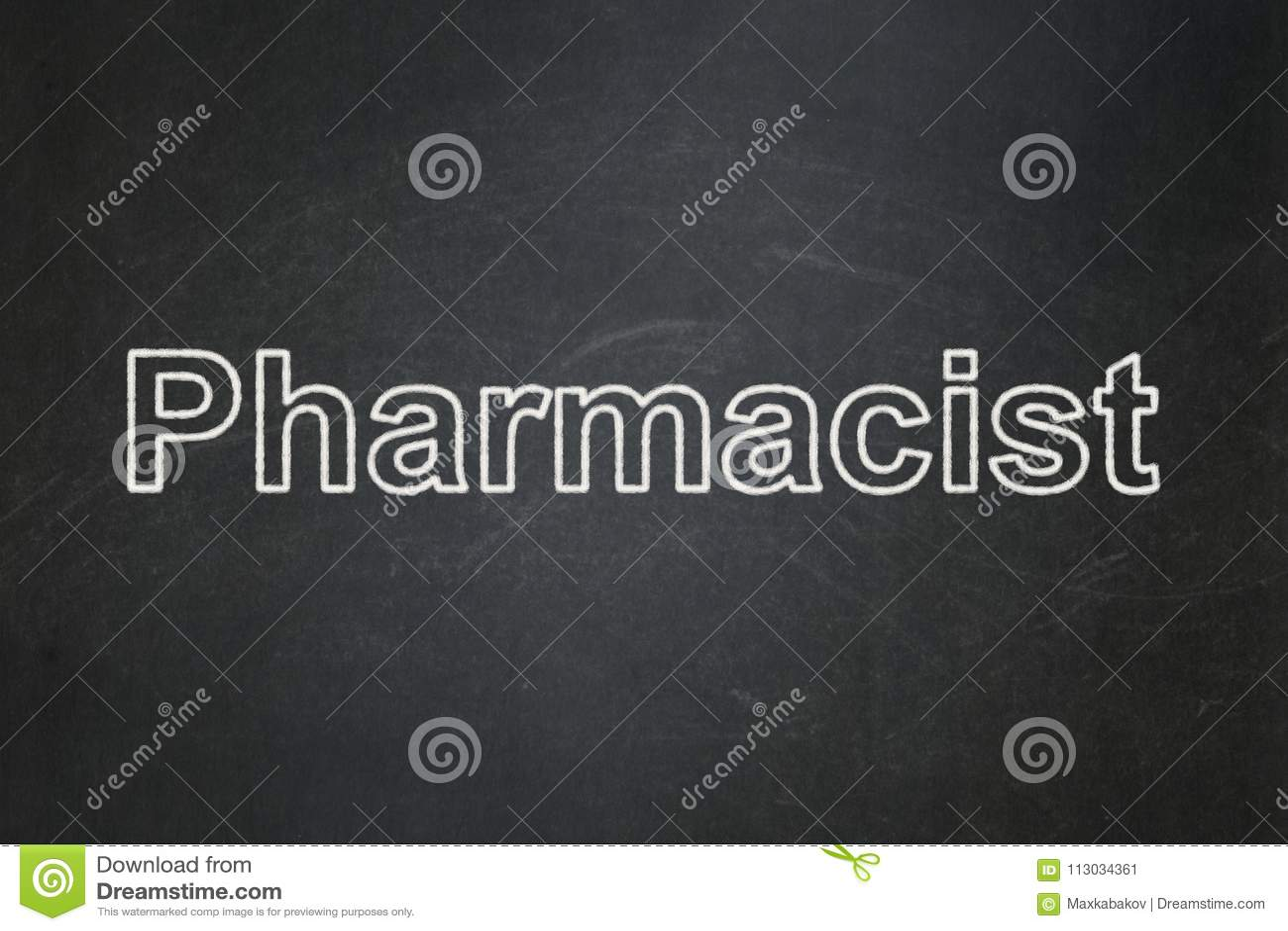 Concepto de la salud: Farmacéutico en fondo de la pizarra