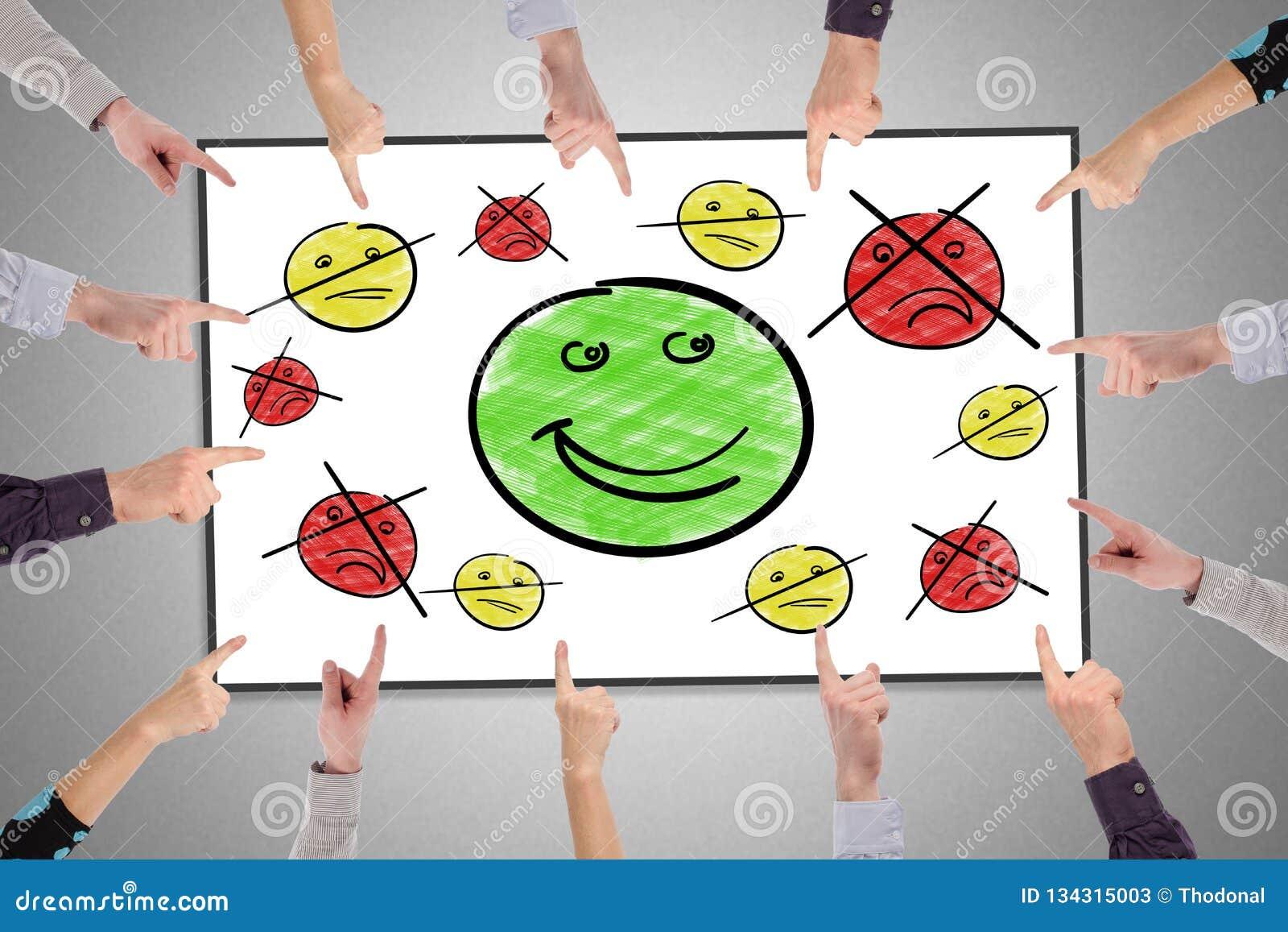Concepto de la satisfacción del cliente en un whiteboard