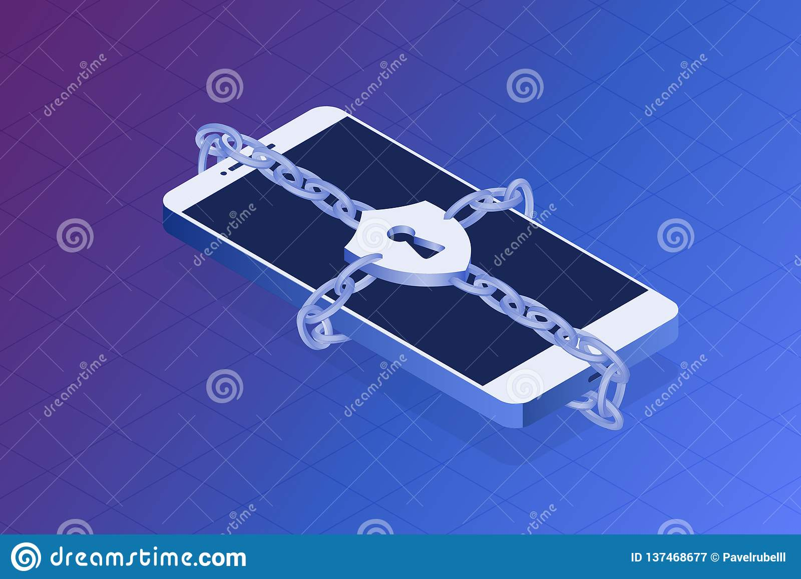 Concepto de la seguridad del teléfono Proteja su ejemplo del vector de la aislamiento Teléfono cerrado por la cadena, conceptos d