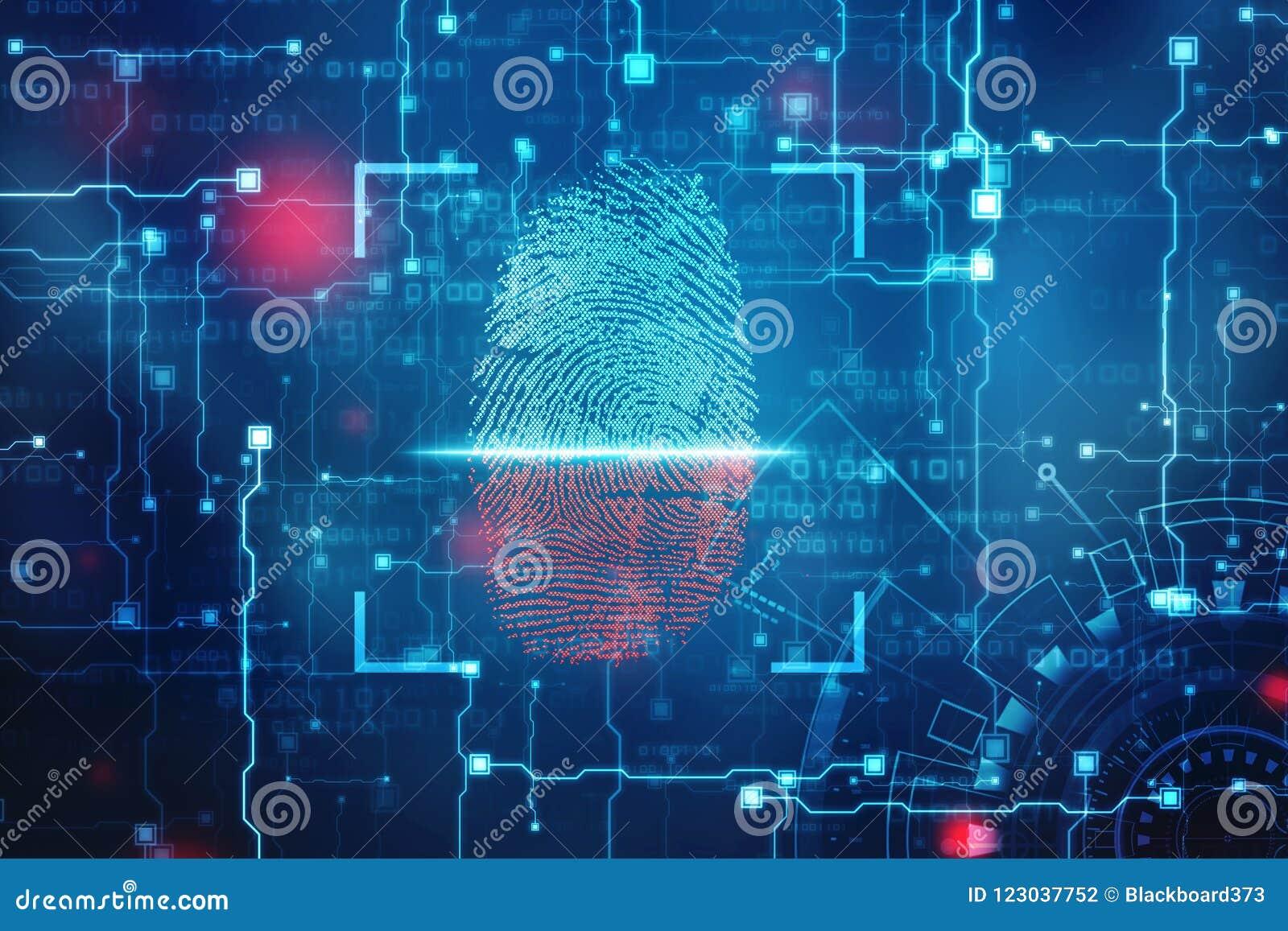 Concepto de la seguridad: exploración de la huella dactilar en la pantalla digital o ejemplo