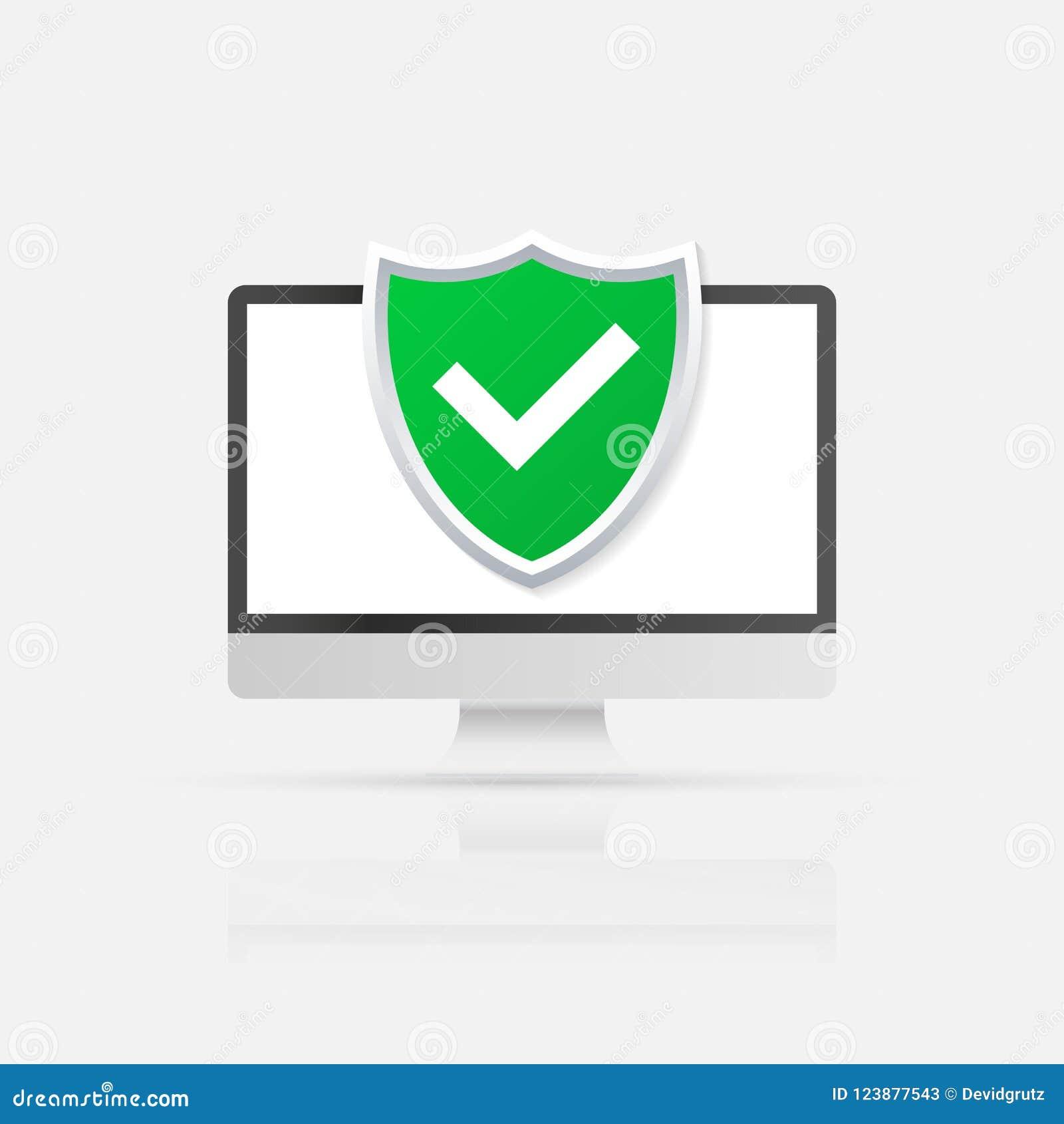 Concepto de la seguridad de ordenador Ordenador con el escudo y la cerradura en la tabla Ejemplo plano del vector