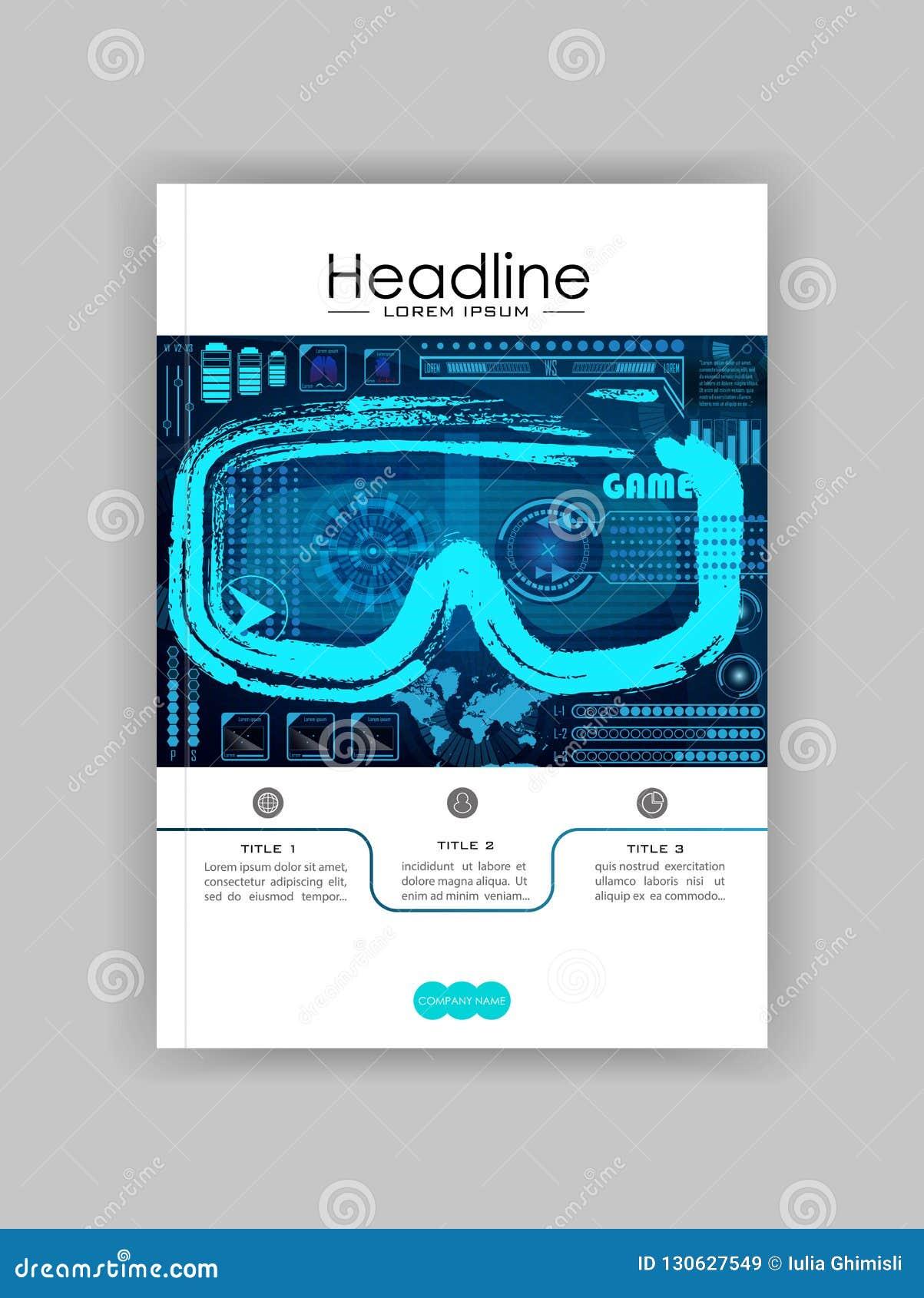 Concepto de la tecnología con Hud, Gui Banner Design Elements Cabeza-para arriba