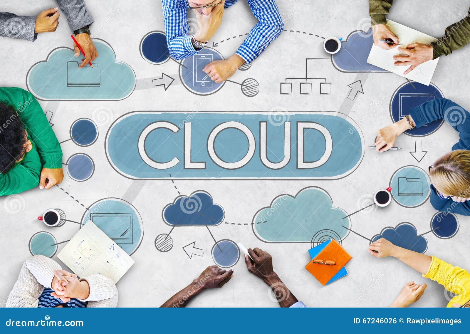 Concepto de la tecnología de almacenamiento de los datos de la red de computación de la nube