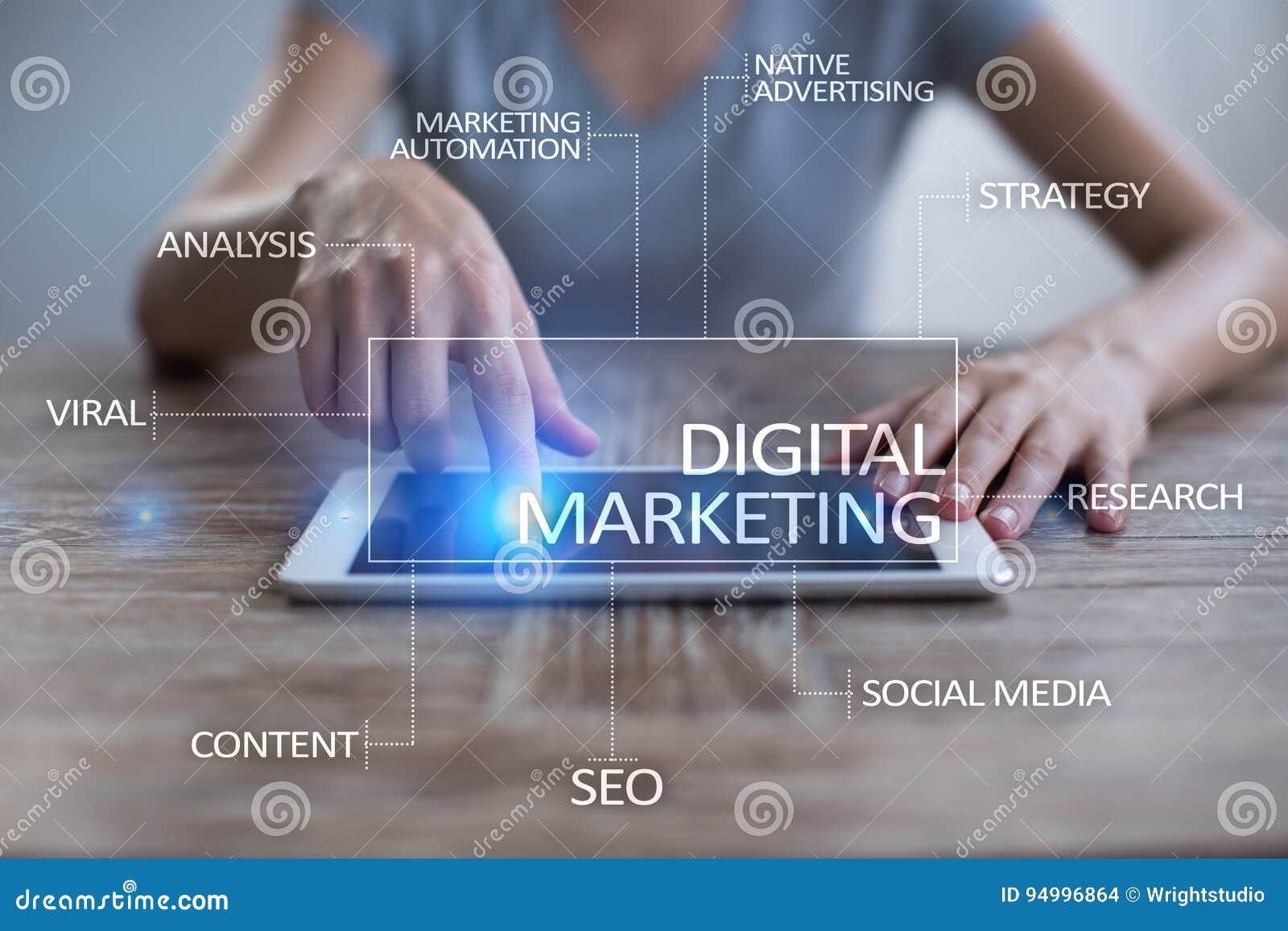 Concepto de la tecnología del márketing de Digitaces Internet En línea SEO SMM publicidad