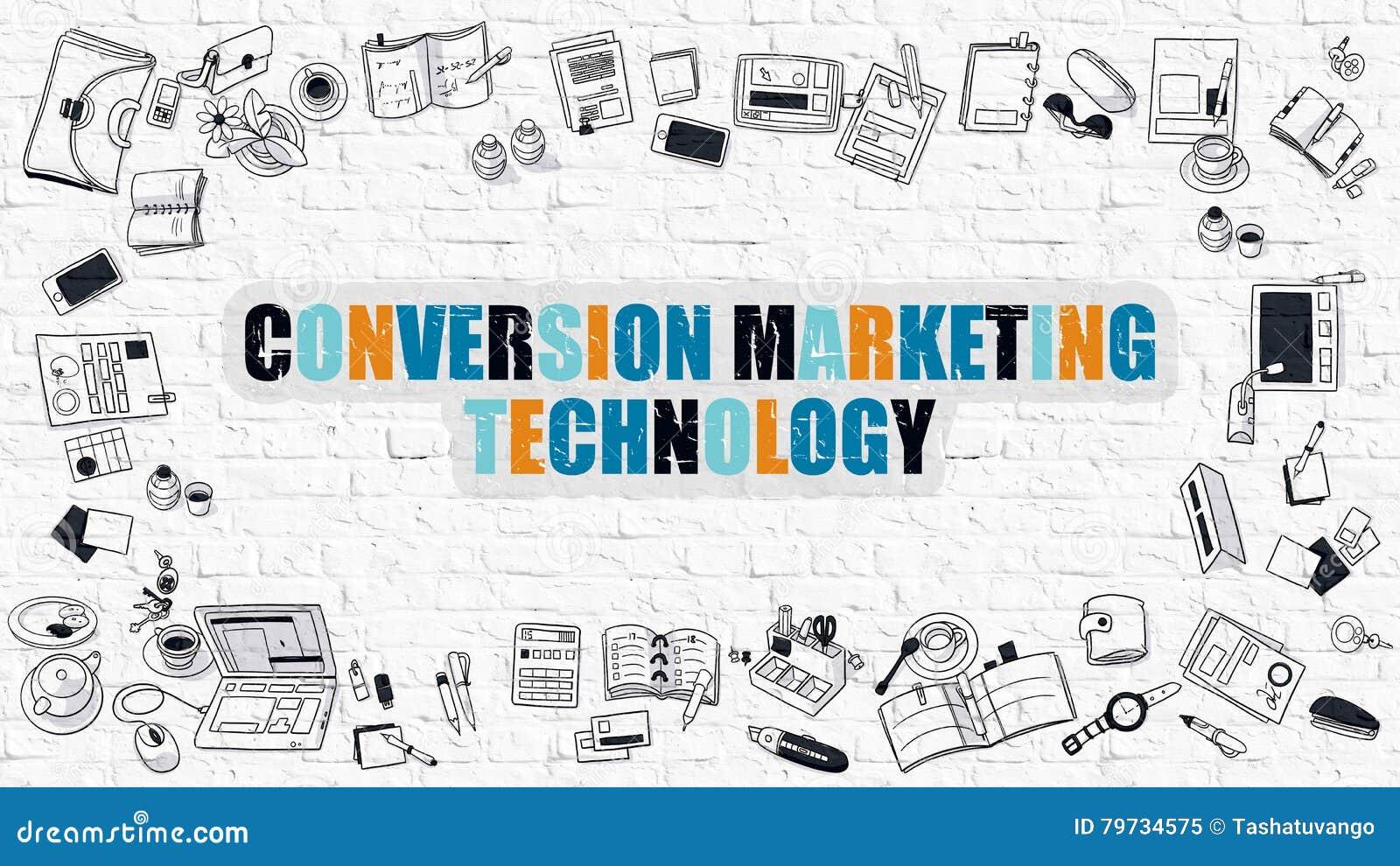 Concepto de la tecnología del márketing de la conversión con diseño del garabato