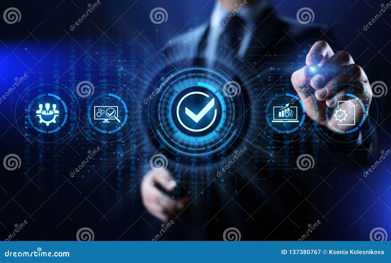 Concepto de la tecnología del negocio del control de la garantía de las normas de calidad ISO