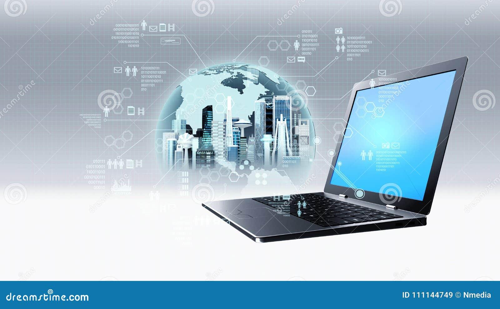 Concepto de la tecnología de la información de Internet