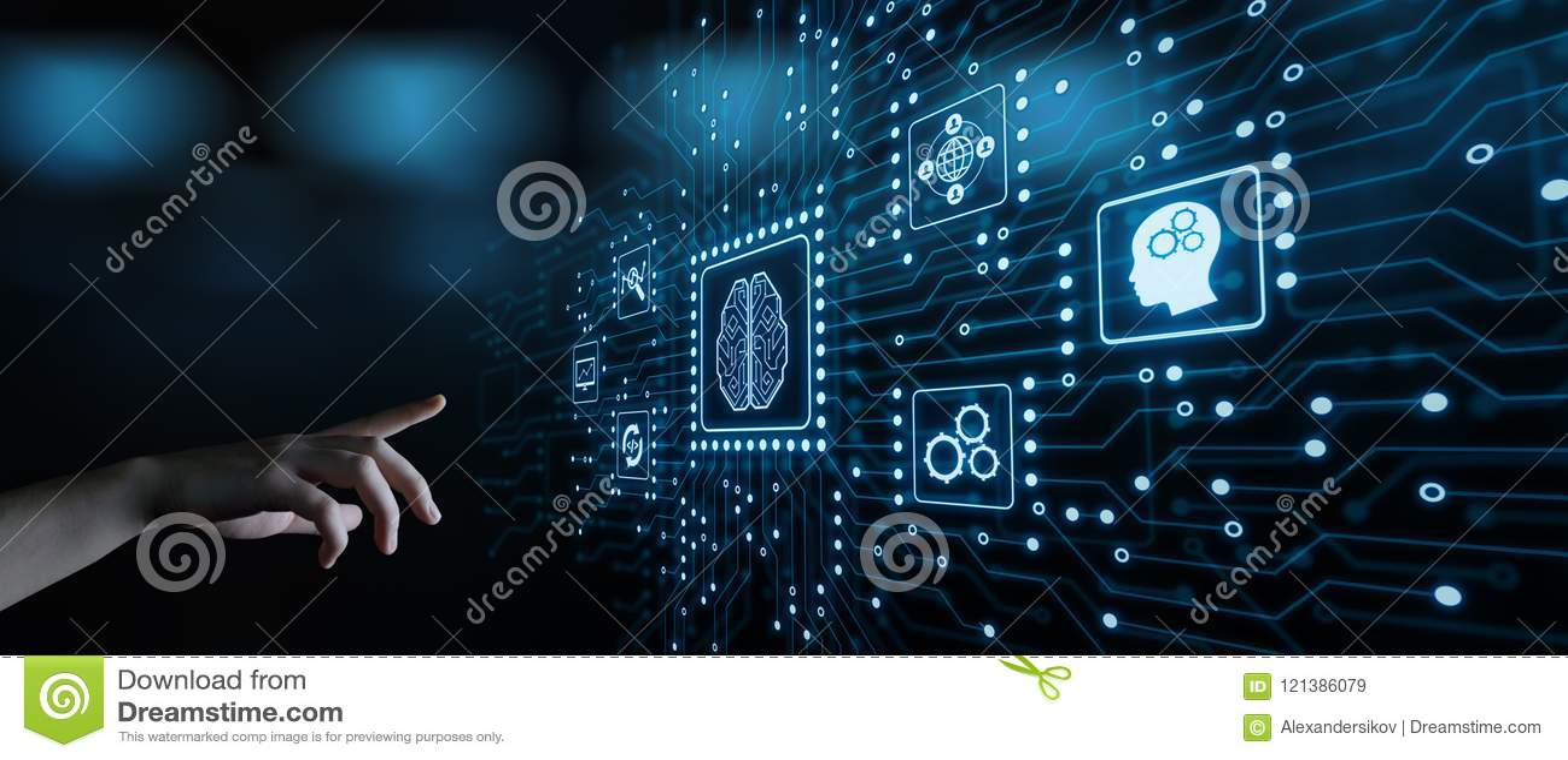 Concepto de la tecnología de Internet del negocio del aprendizaje de máquina de la inteligencia artificial