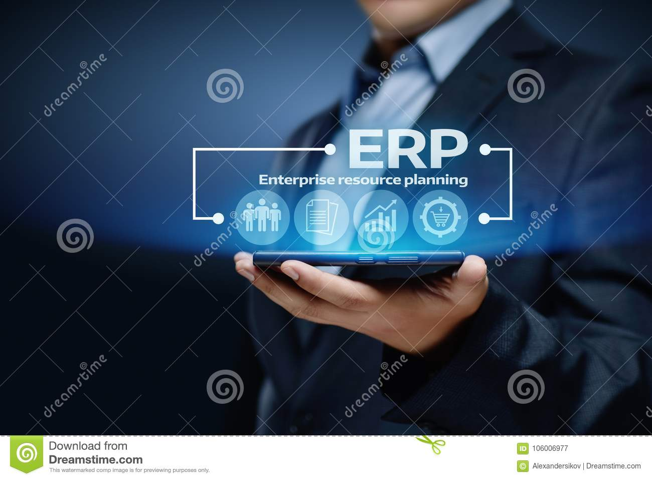 Concepto de la tecnología de Internet del negocio de la gestión de Enterprise Resource Planning ERP Corporate Company