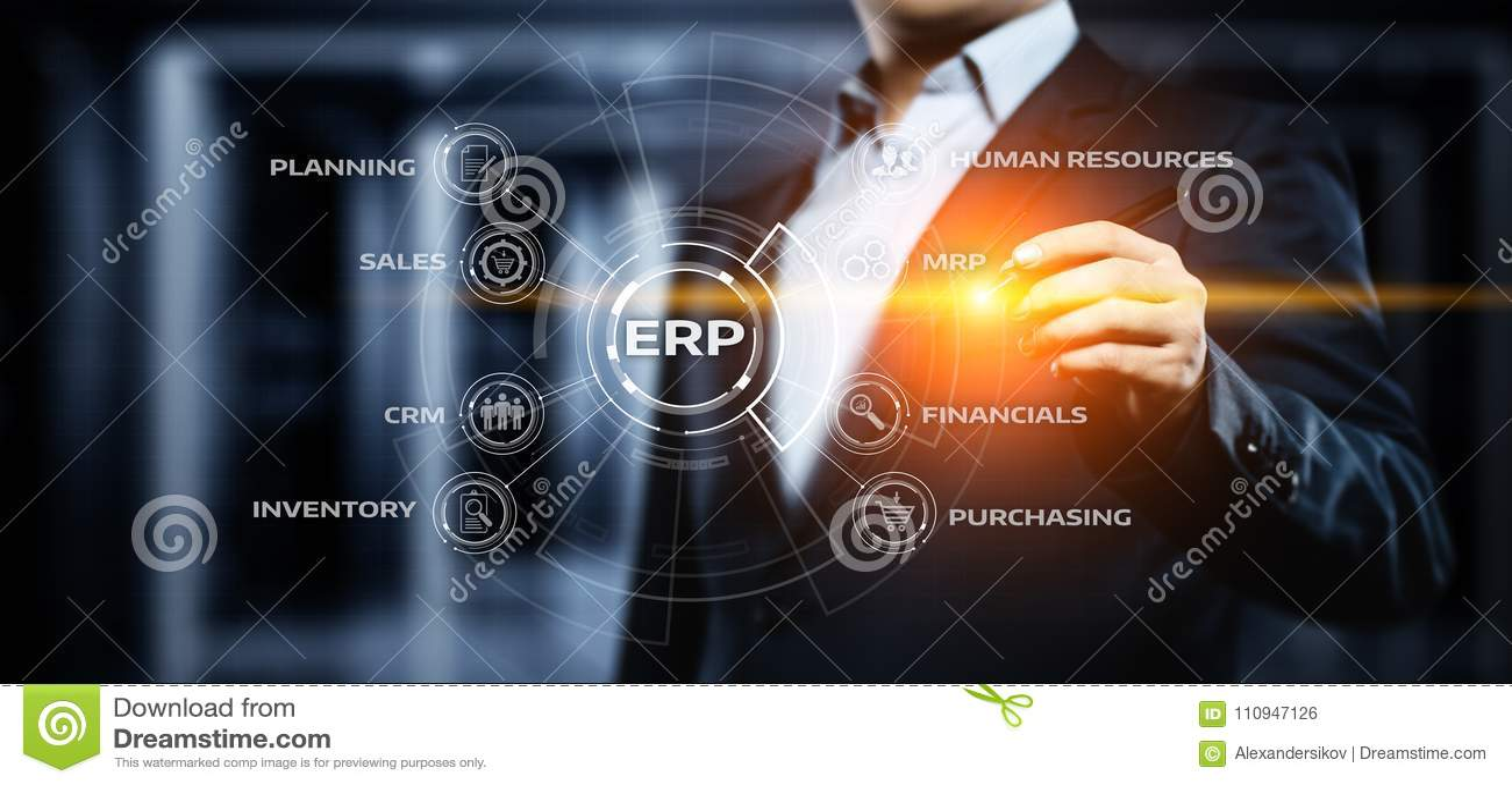 Concepto de la tecnología de Internet del negocio de la gestión de Enterprise Resource Planning ERP Corporate Company