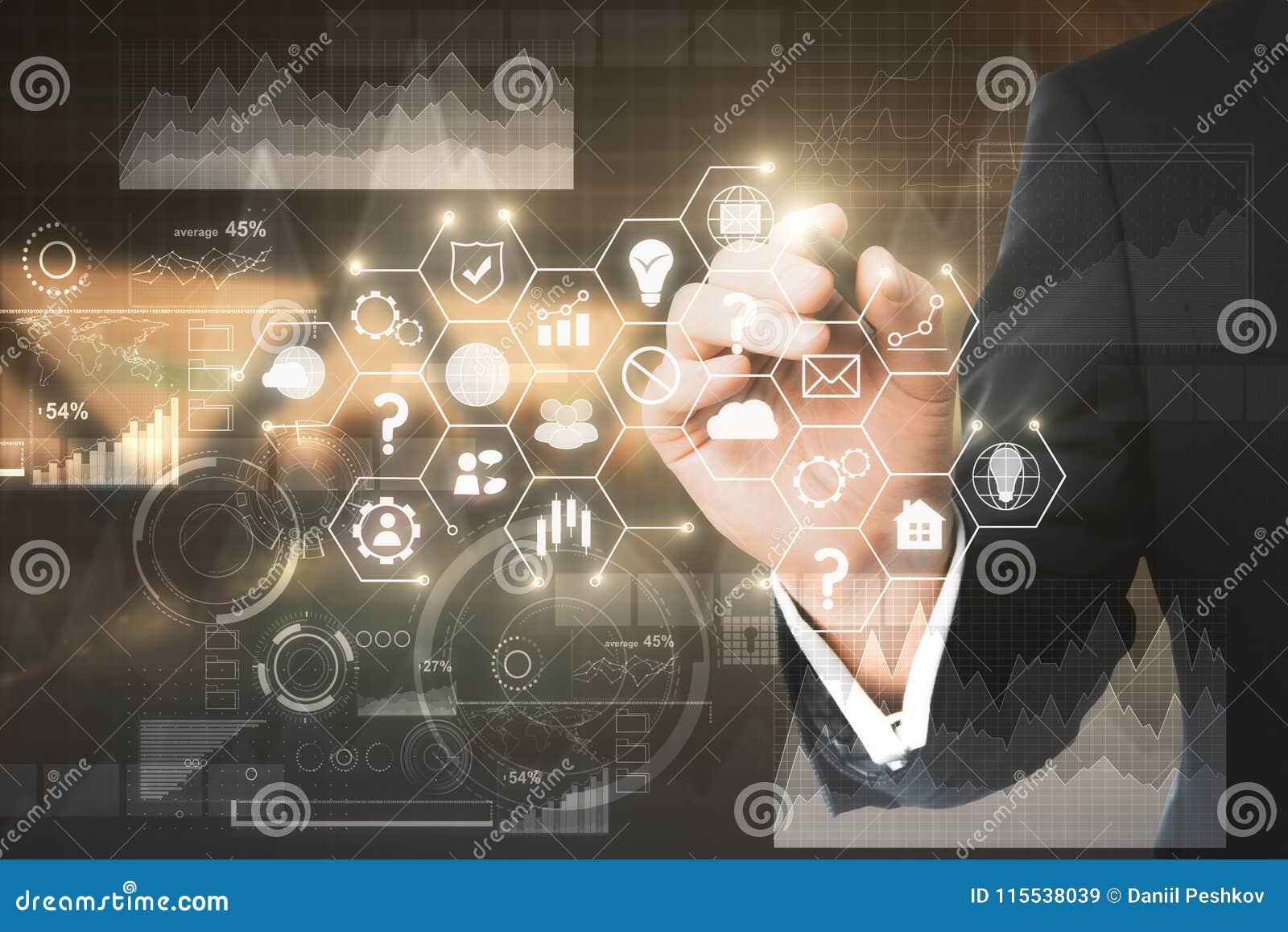 Concepto de la tecnología, de las finanzas y de la comunicación