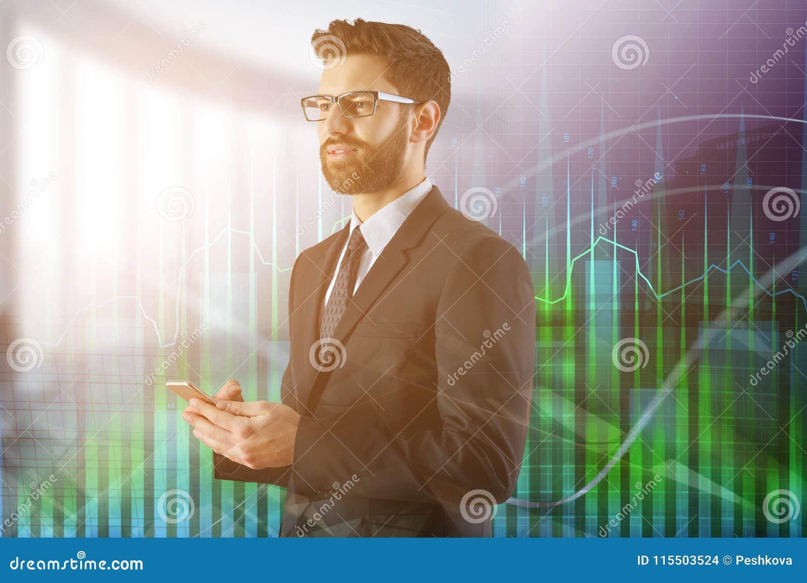 Concepto de la tecnología, de las finanzas y de la economía