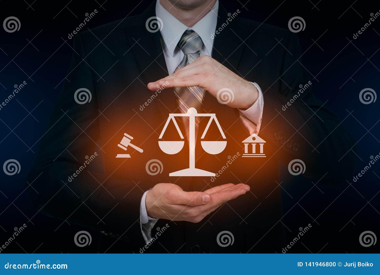 Concepto de la tecnología de Legal Business Internet del abogado de la ley laboral