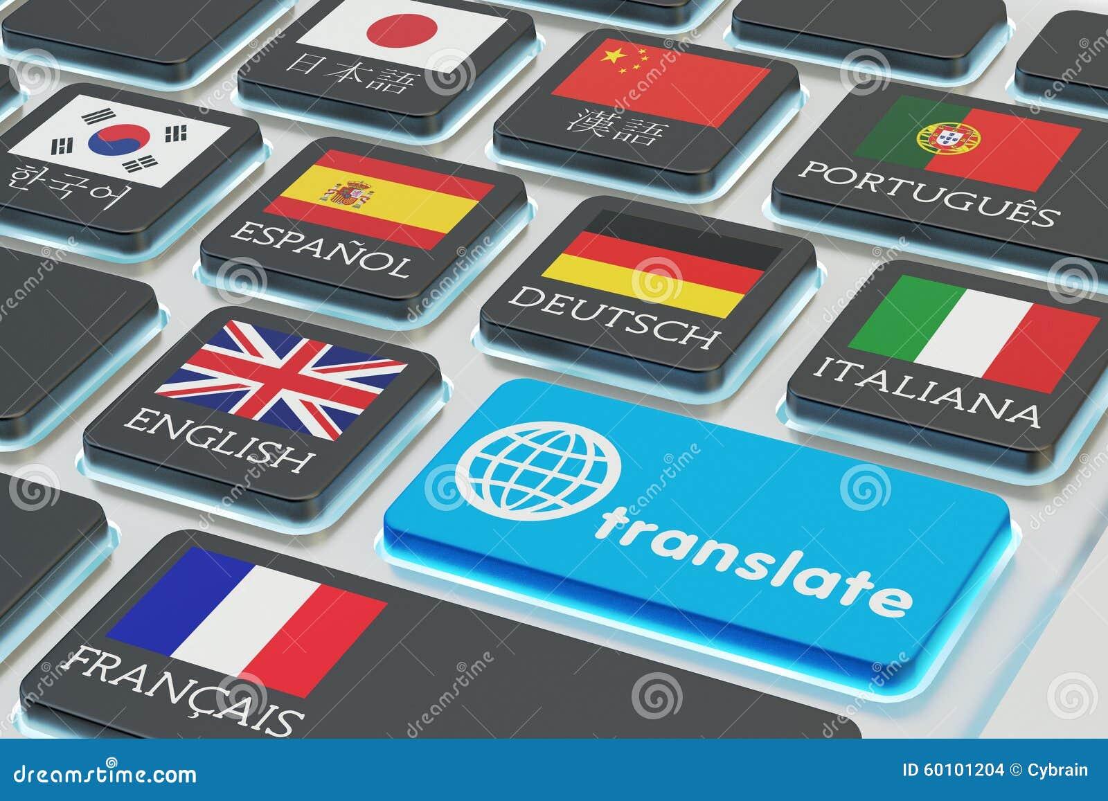 Concepto de la traducción de los idiomas extranjeros, traductor en línea