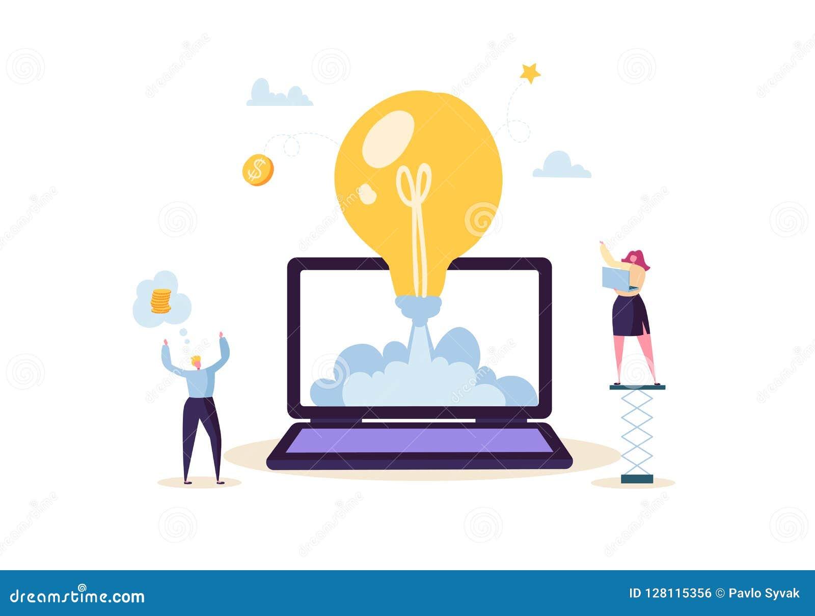 Concepto de lanzamiento con la bombilla y los caracteres felices Hombres de negocios planos que lanzan a Rocket del ordenador por
