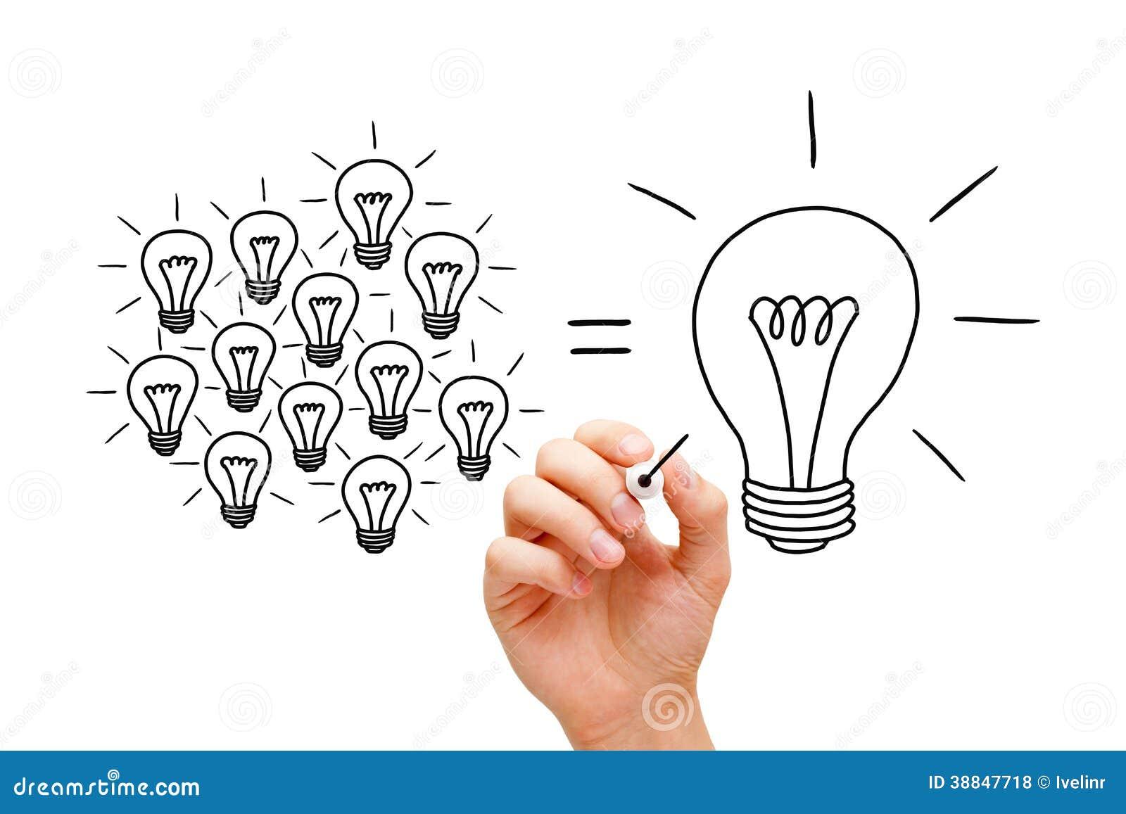 Concepto de las bombillas del trabajo en equipo