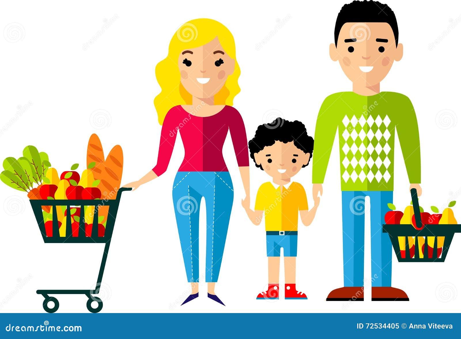 Concepto de las compras con el comprador europeo de la for Concepto de la familia para ninos
