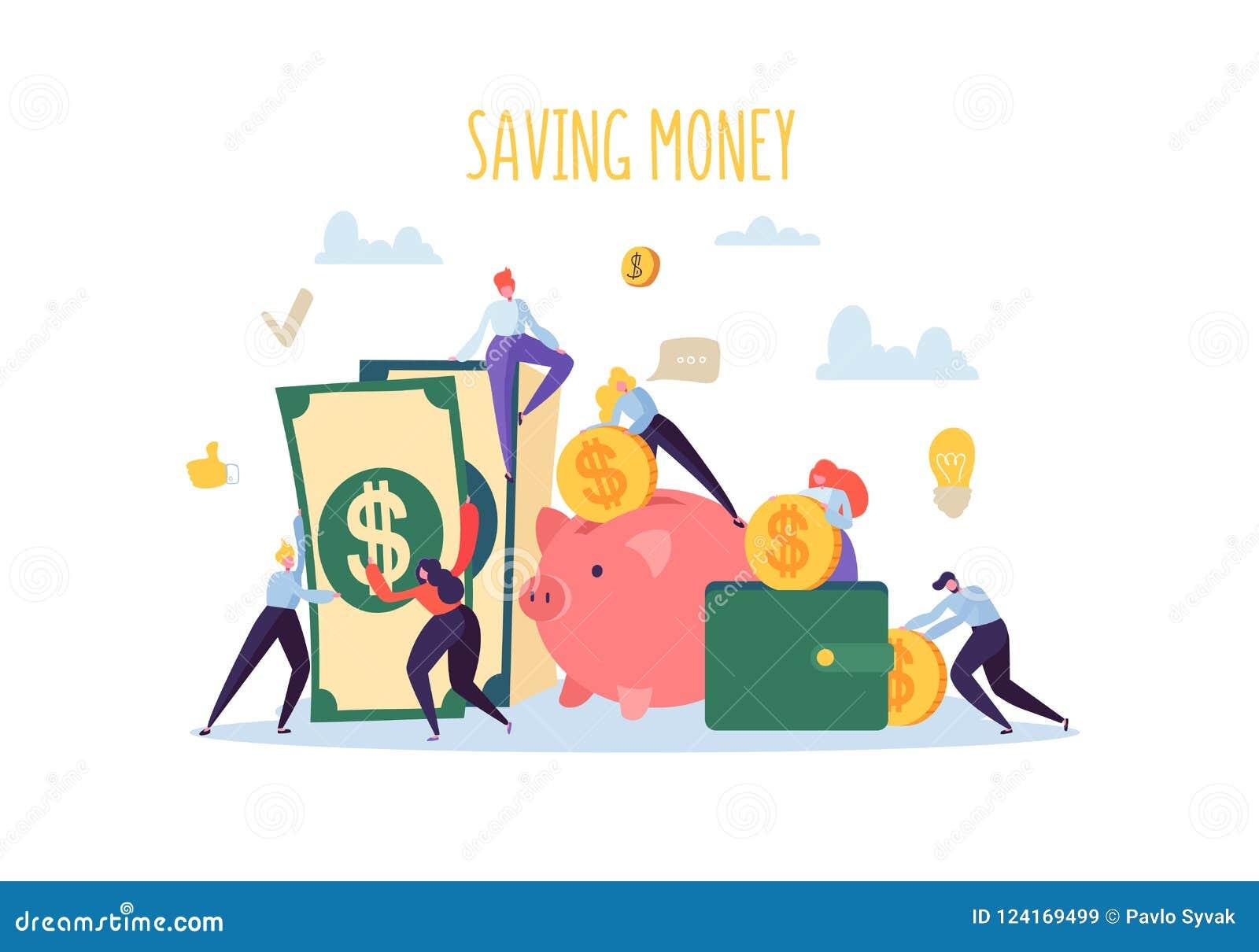 Concepto de las finanzas del dinero del ahorro Los caracteres planos de la gente recogen el dinero Hucha, riqueza, presupuesto, g