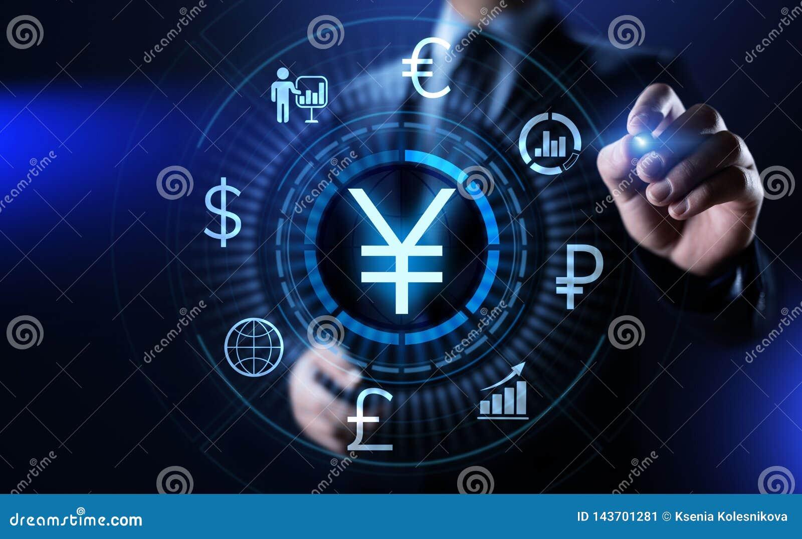 Concepto de las finanzas del negocio de intercambio de moneda de comercio de las divisas del símbolo de los YENES