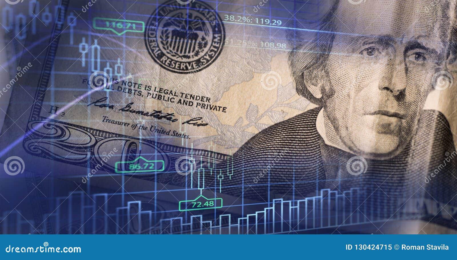 Concepto de las finanzas, del negocio y de las actividades bancarias Exposición doble del dinero,