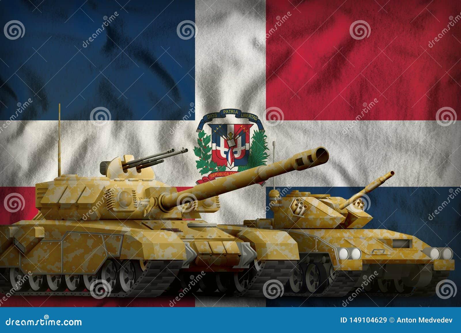 Concepto de las fuerzas del tanque de la Rep?blica Dominicana los tanques con camuflaje anaranjado en fondo de la bandera ilustra