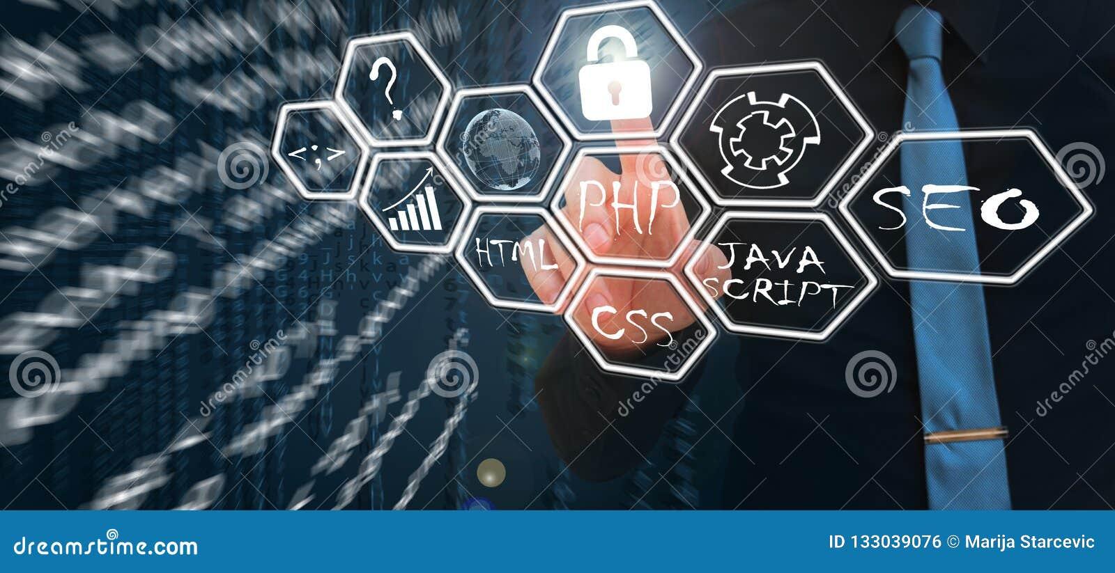 Concepto de las herramientas de desarrollo web en la pantalla virtual Lenguaje de programación y escrituras PHP, HTML, CSS, Java