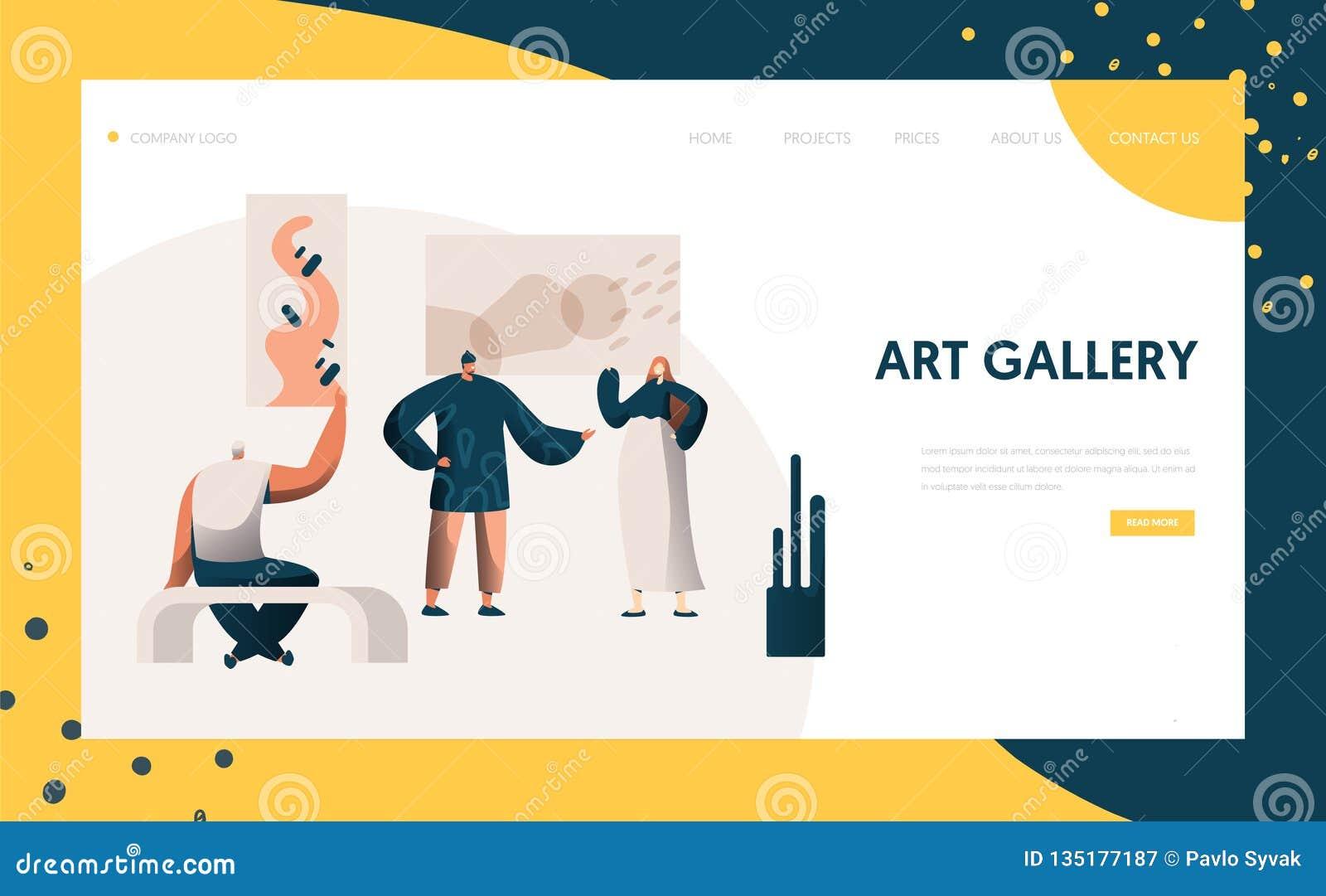Concepto de las ilustraciones del marco de Represent Modern Painting del artista del carácter de la gente de la página de Art Gal