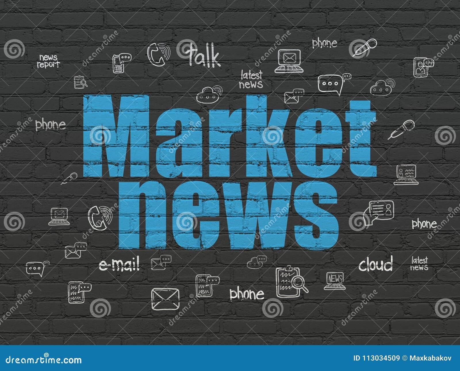 Concepto de las noticias: Noticias de mercado en fondo de la pared