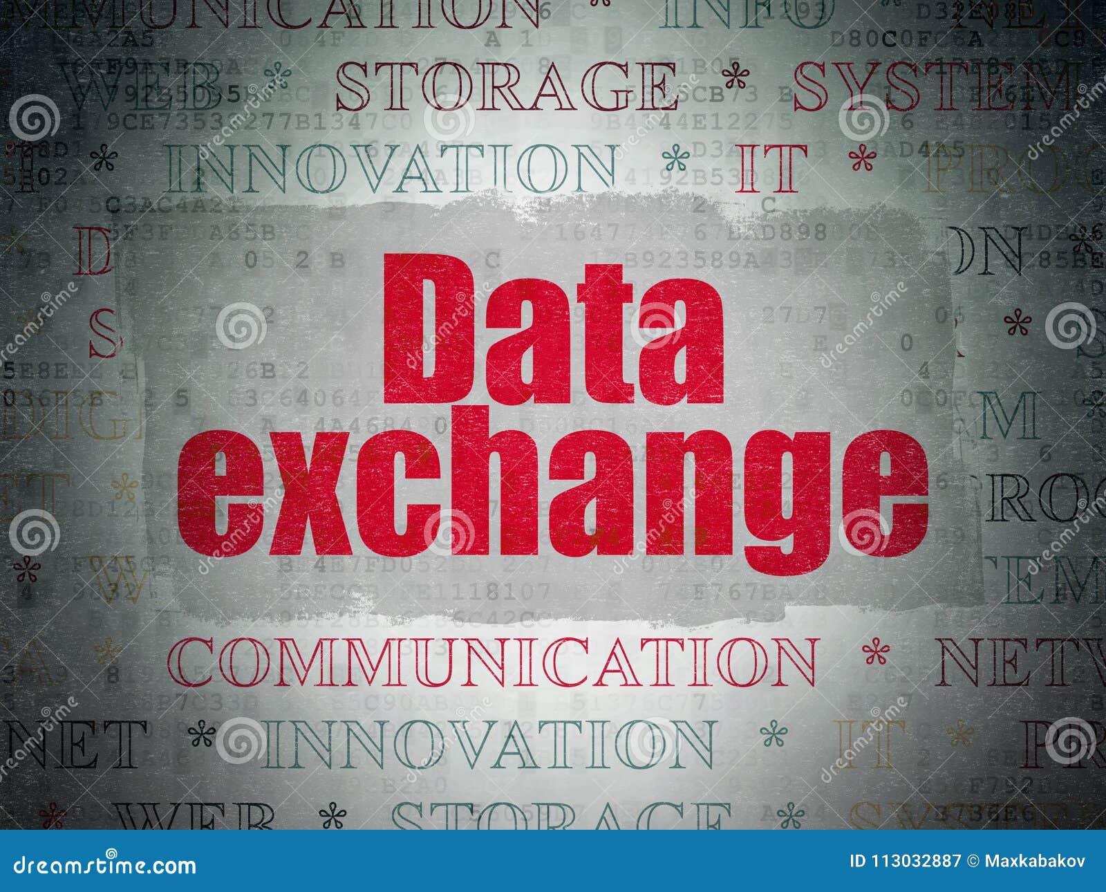 Concepto de los datos: De intercambio de datos en fondo del papel de datos de Digitaces