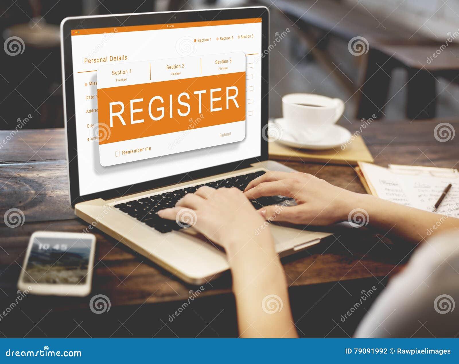 Concepto de los gráficos del boletín de inscripción del uso en línea