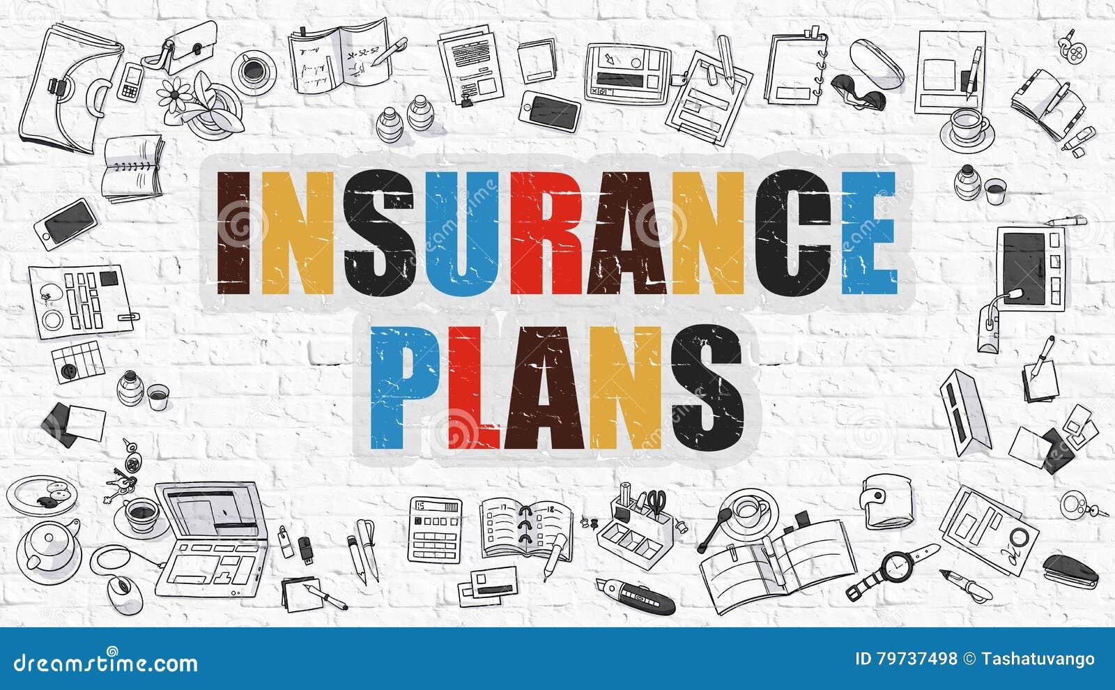 Concepto de los regímenes de seguros Multicolor en Brickwall blanco