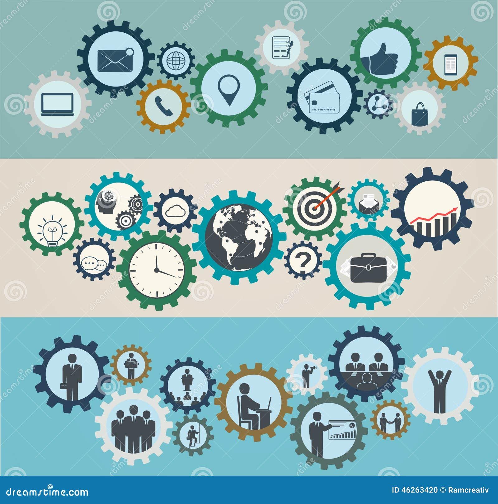 Concepto de mecanismos con los iconos del negocio, mano de obra