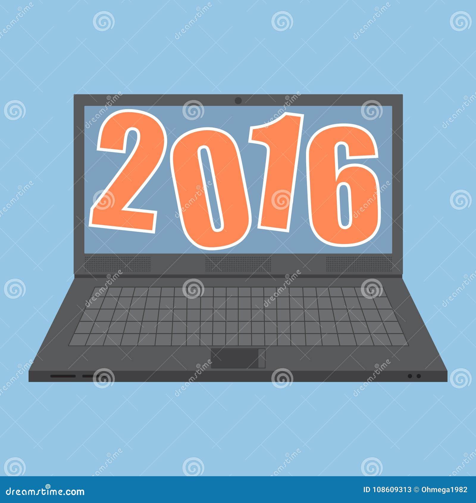 Concepto de ordenador portátil con el concepto 2016 de la idea del Año Nuevo