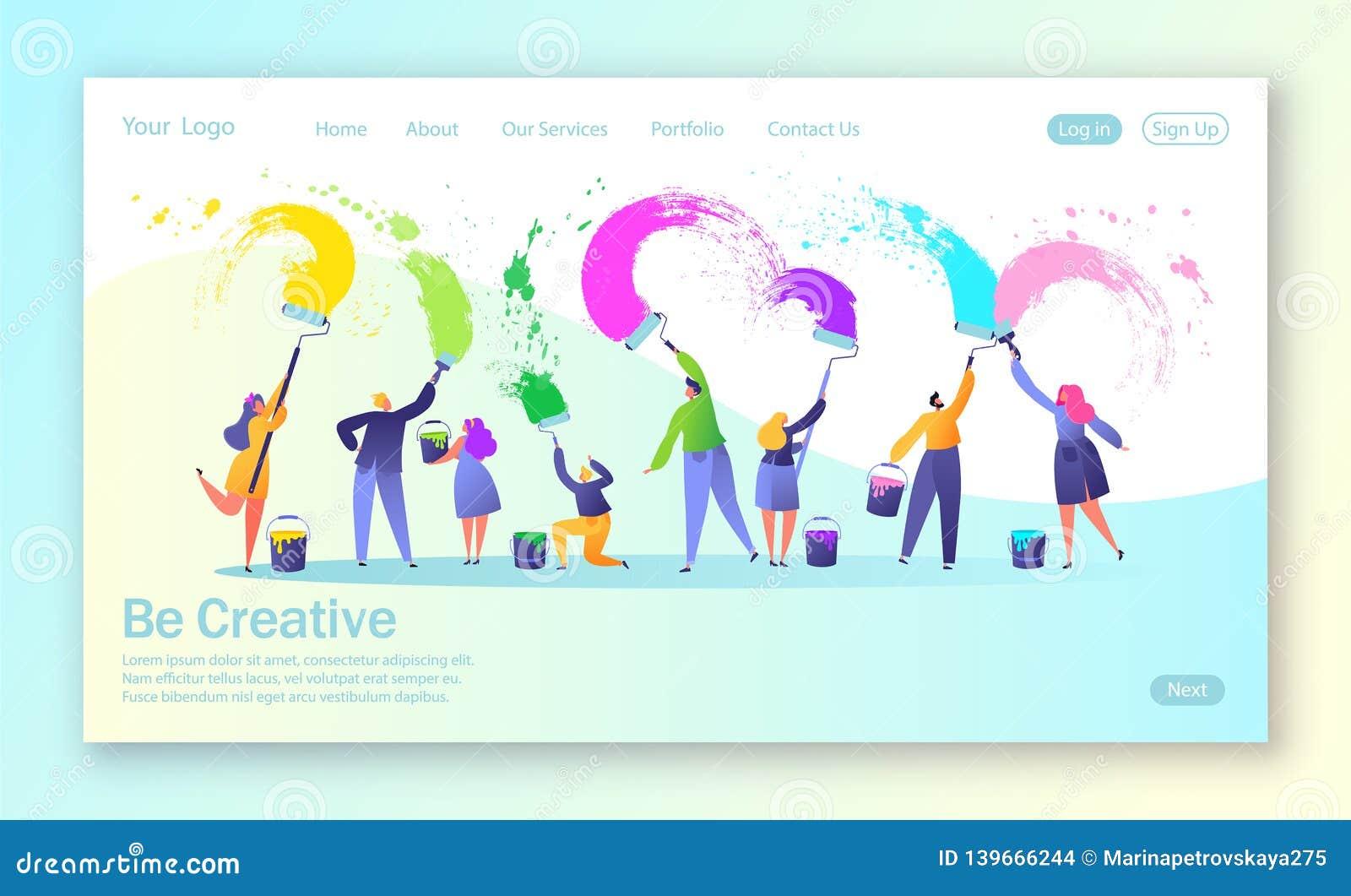 Concepto de página de aterrizaje con trabajo en equipo creativo del negocio Pinturas creativas de los caracteres de la gente con