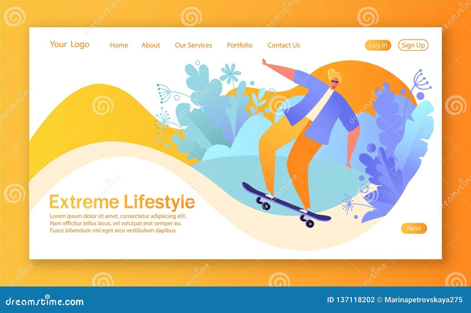 Concepto de página de aterrizaje en tema sano de la forma de vida con el carácter feliz del individuo