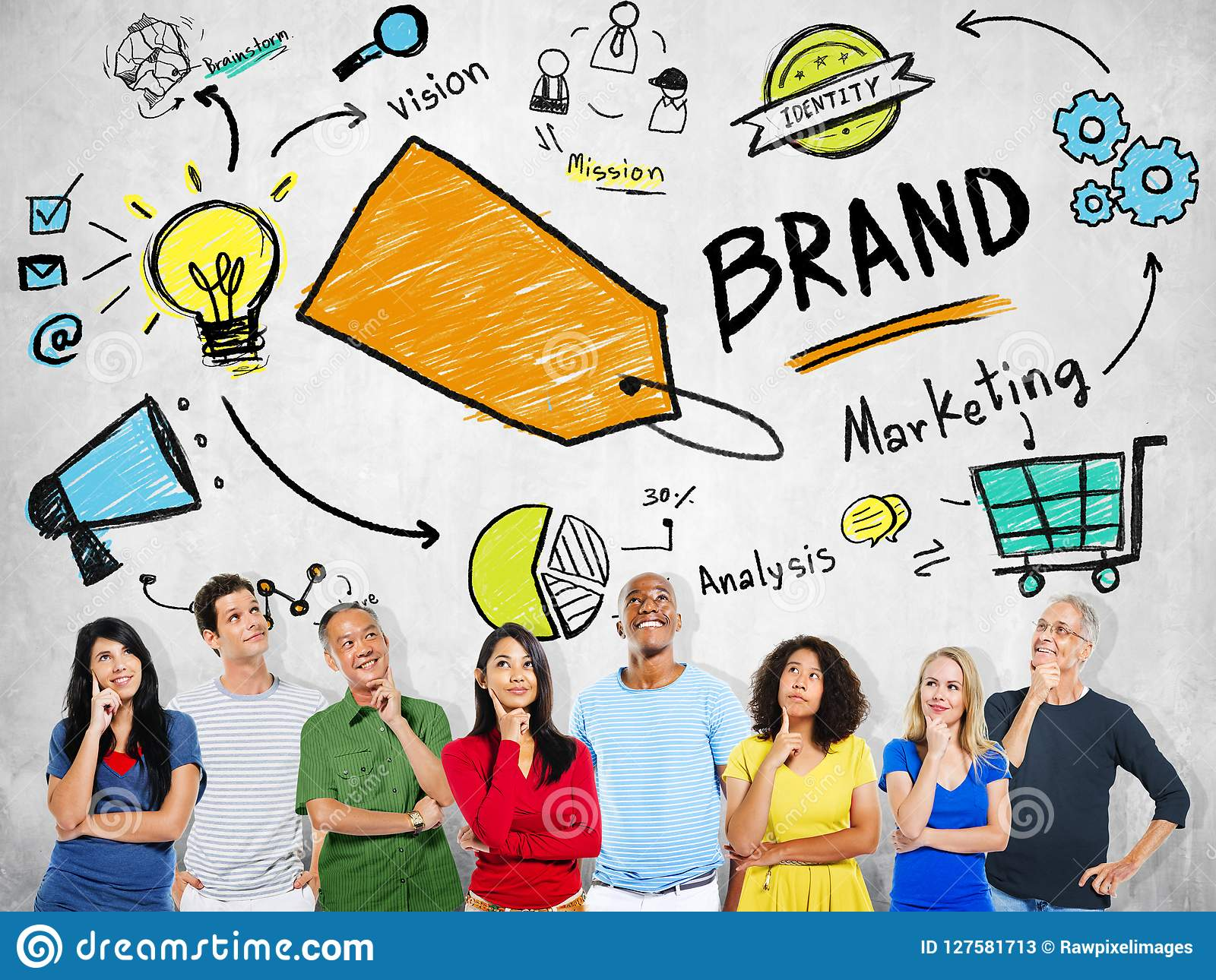 Concepto de pensamiento de la marca del márketing del planeamiento de la gente diversa