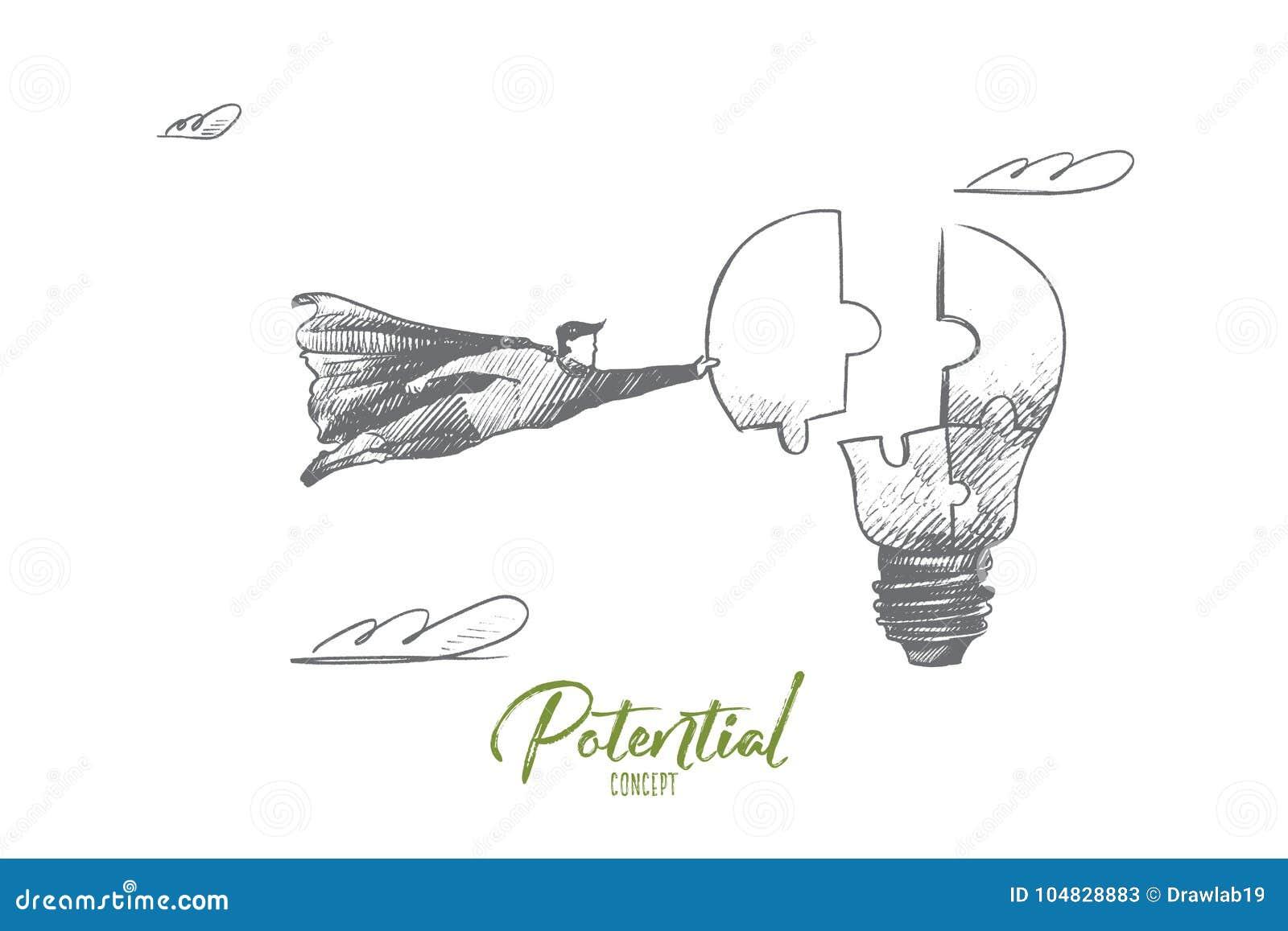 Concepto de Potencial Vector aislado dibujado mano