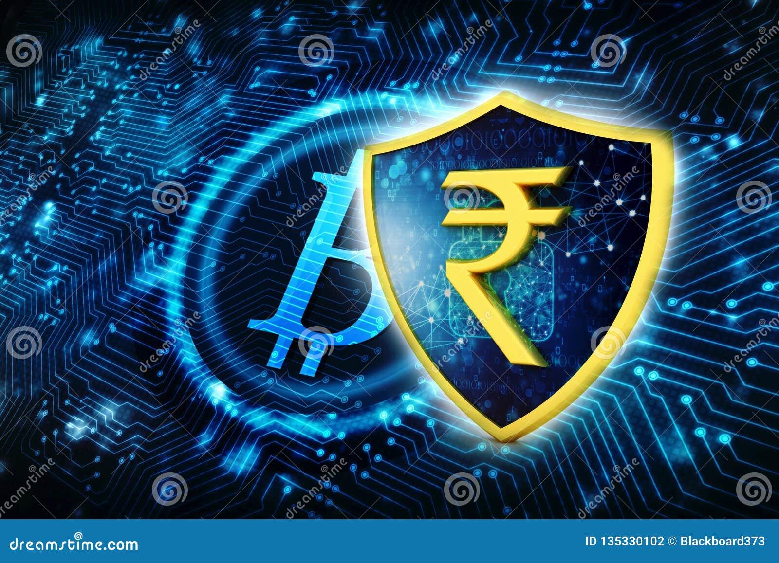 Concepto de protección de la rupia india Concepto del asunto 3d rinden