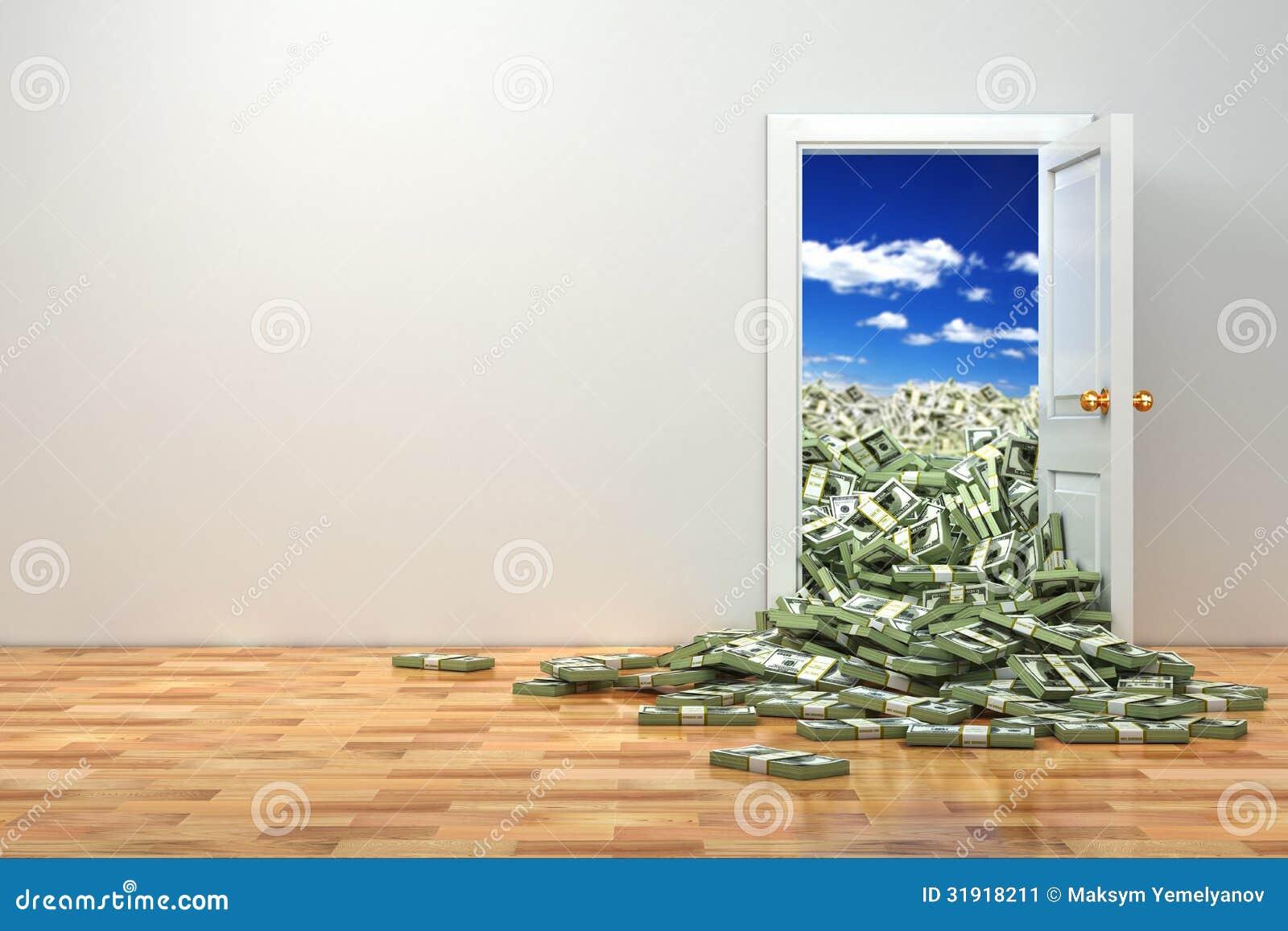 Concepto De Riqueza. Puerta De Abertura Y Dólar Del Montón. Stock de ...