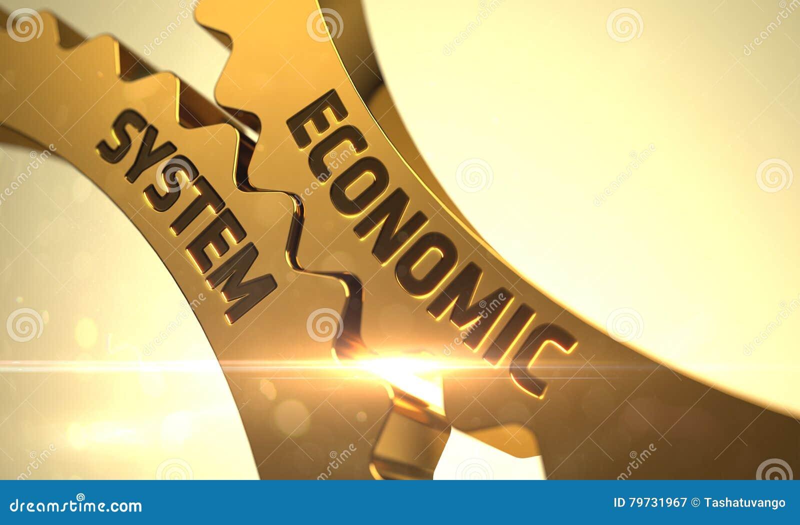 Concepto de sistema económico Engranajes de oro 3d