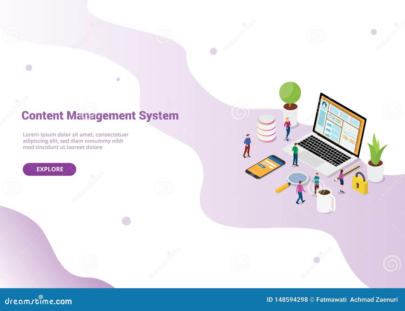 Concepto de sistema de gestión contento de CMS con el ordenador portátil y la página de la página web con la clave segura para la