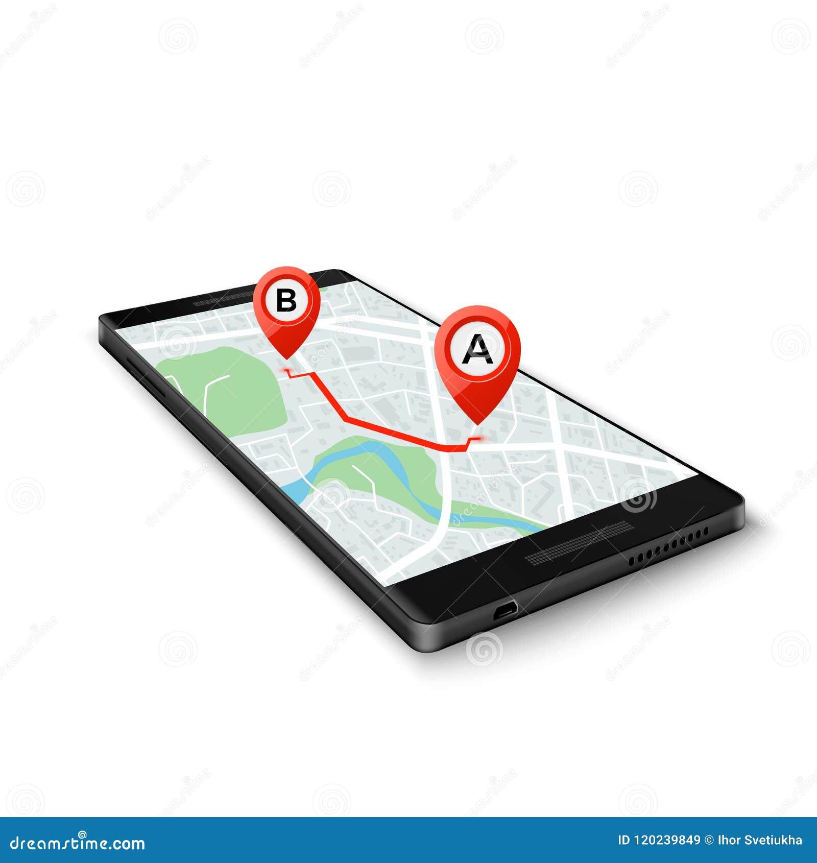 Concepto de sistema móvil de GPS Interfaz móvil de GPS app Mapa en la pantalla del teléfono con los marcadores de la ruta Ilustra